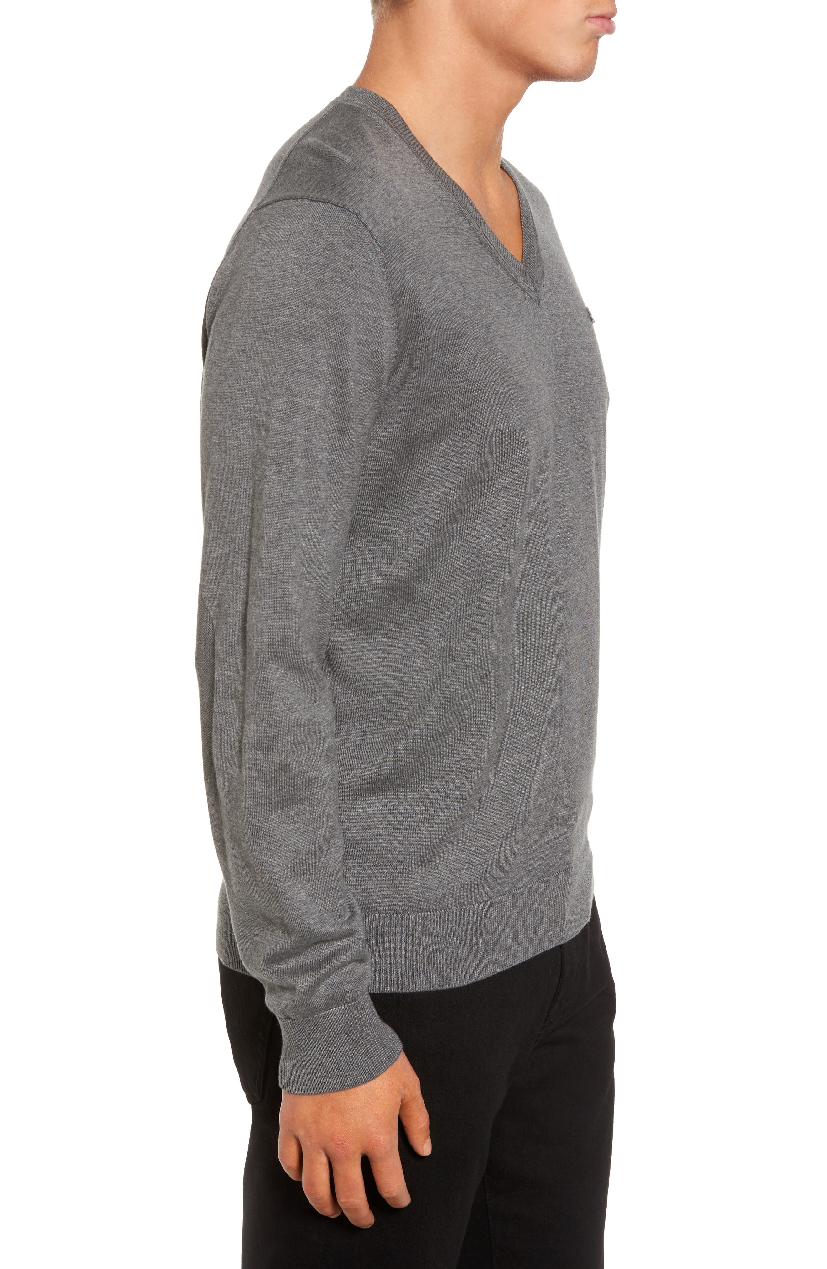Cotton Jersey V-Neck Sweater,                             Alternate thumbnail 3, color,                             Galaxite