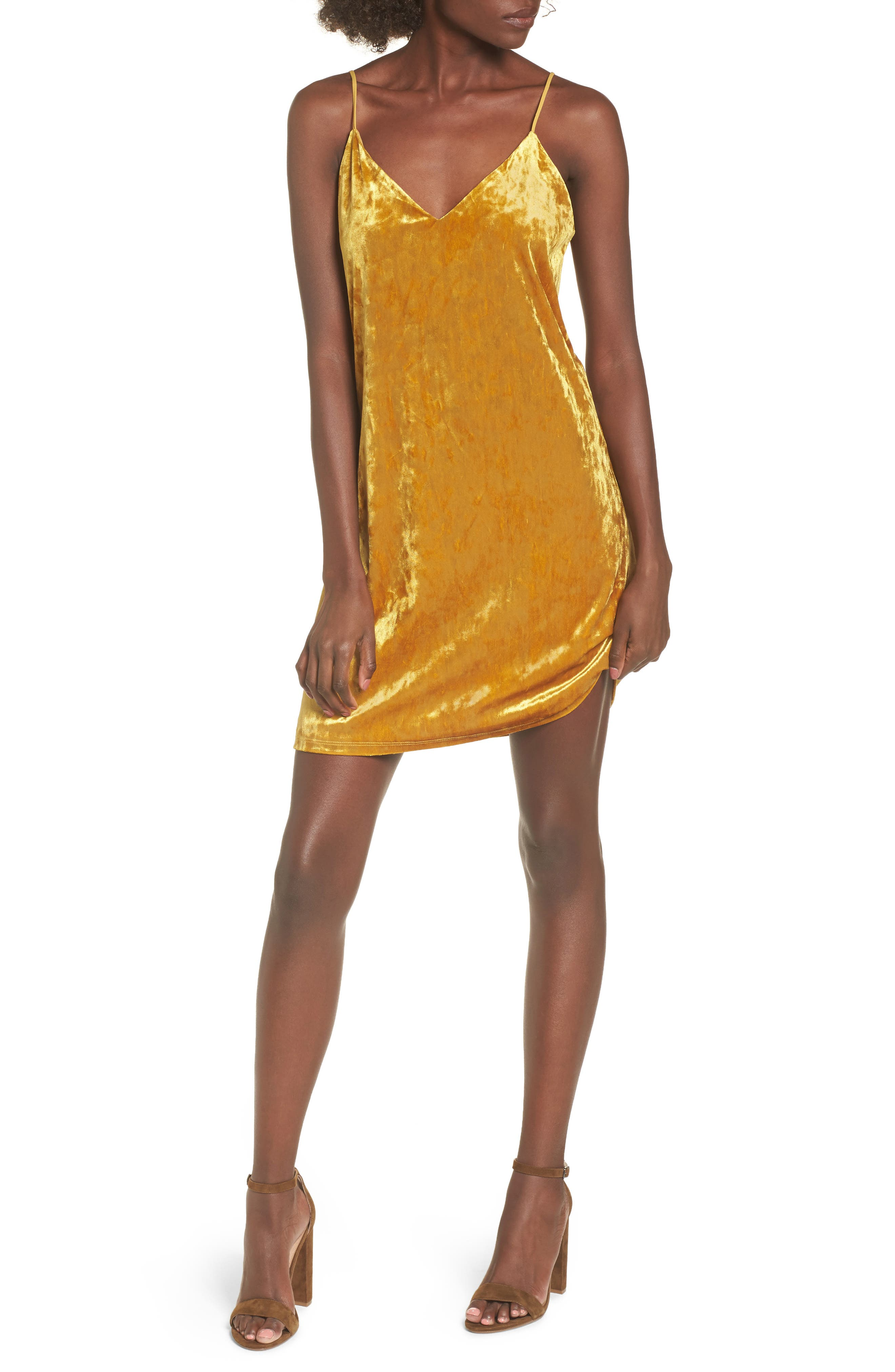Velvet Slipdress,                         Main,                         color, Brown Cattail