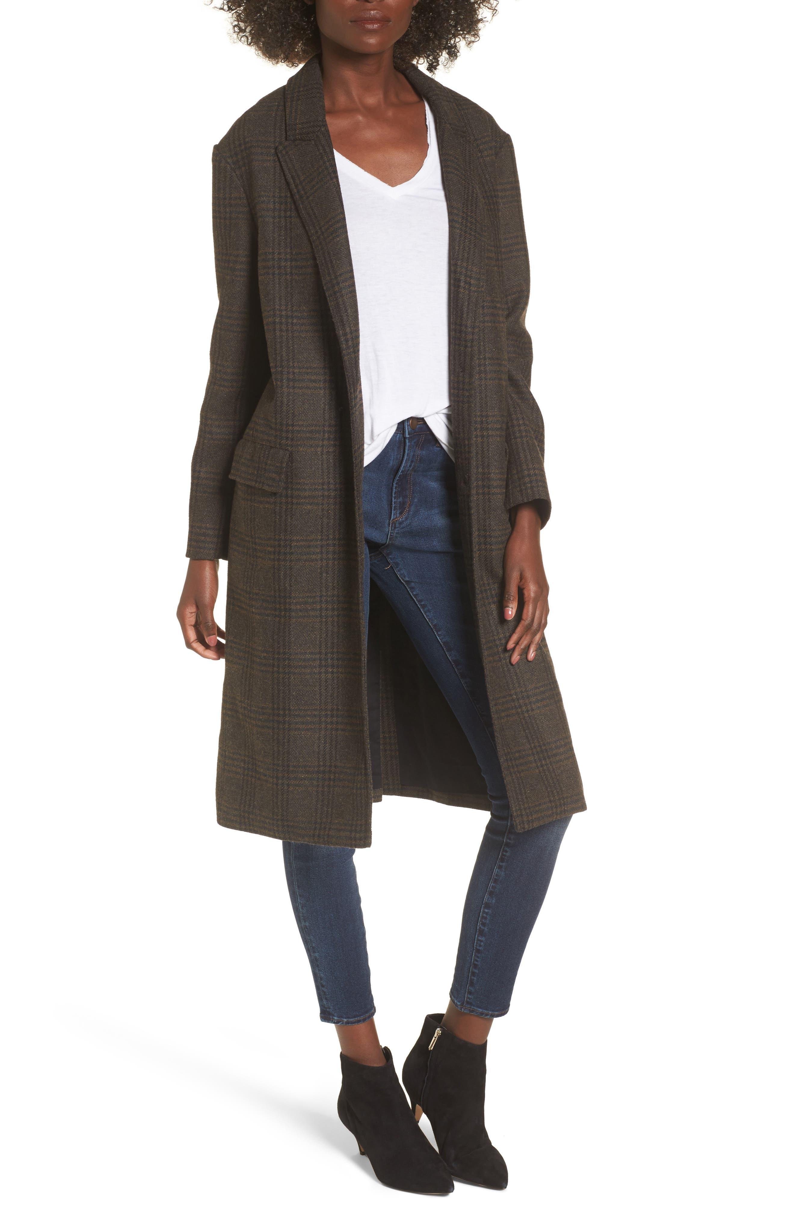 Menswear Coat,                             Main thumbnail 1, color,                             Brown Plaid