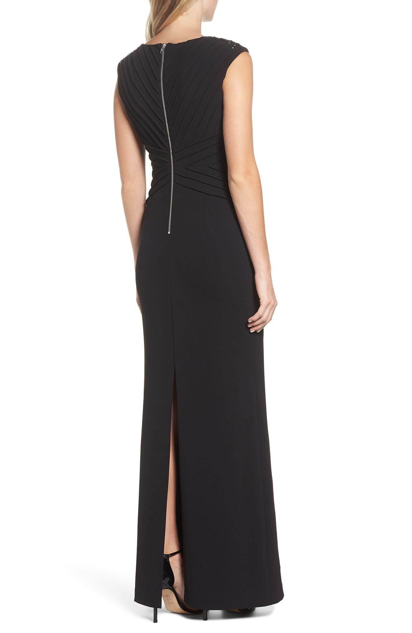 Pintuck Crepe Gown,                             Alternate thumbnail 2, color,                             Black