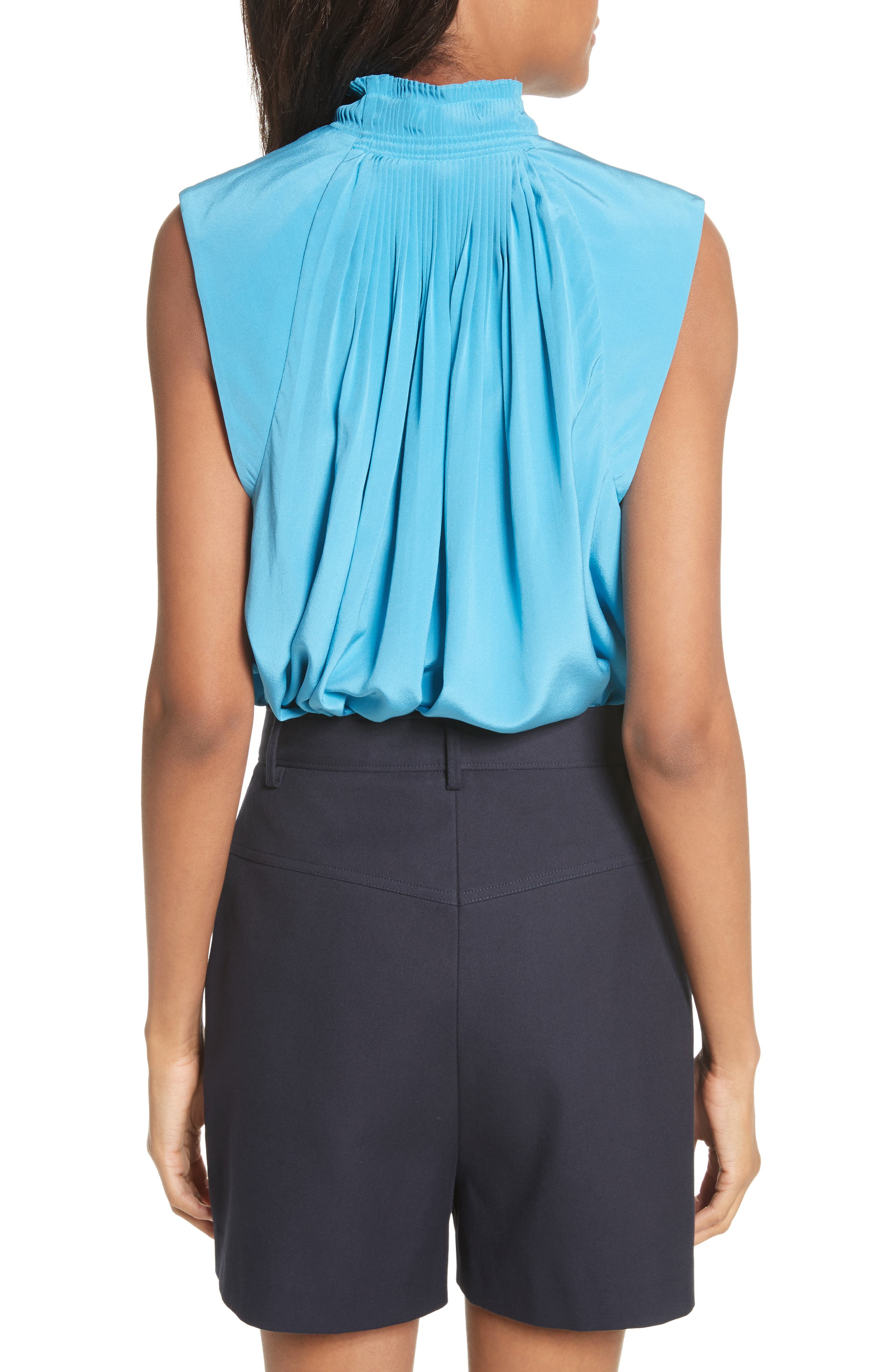 Arielle Sleeveless Silk Top,                             Alternate thumbnail 2, color,                             Bowery Blue