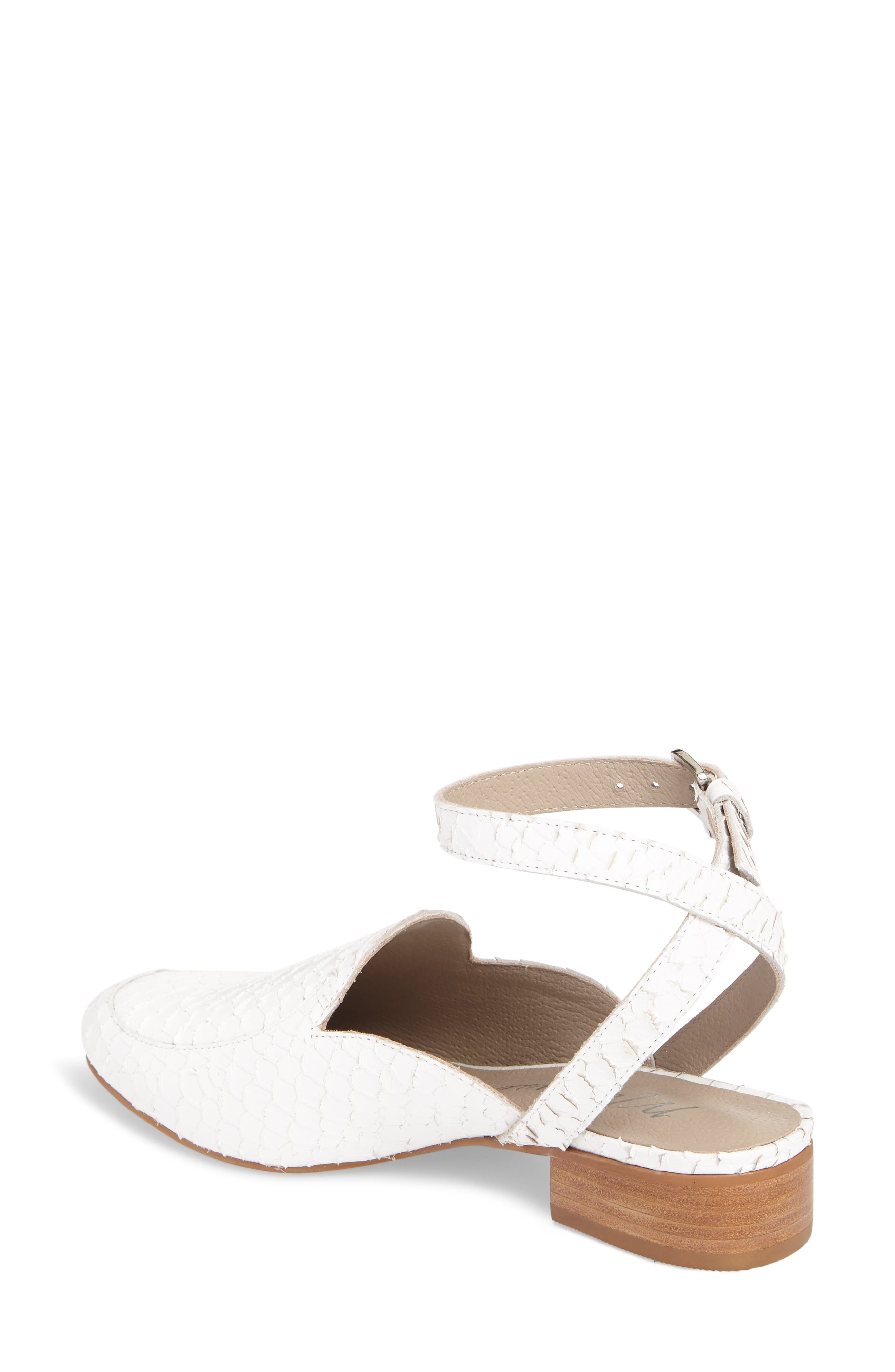 Half Moon Ankle Strap Loafer,                             Alternate thumbnail 2, color,                             White Leather