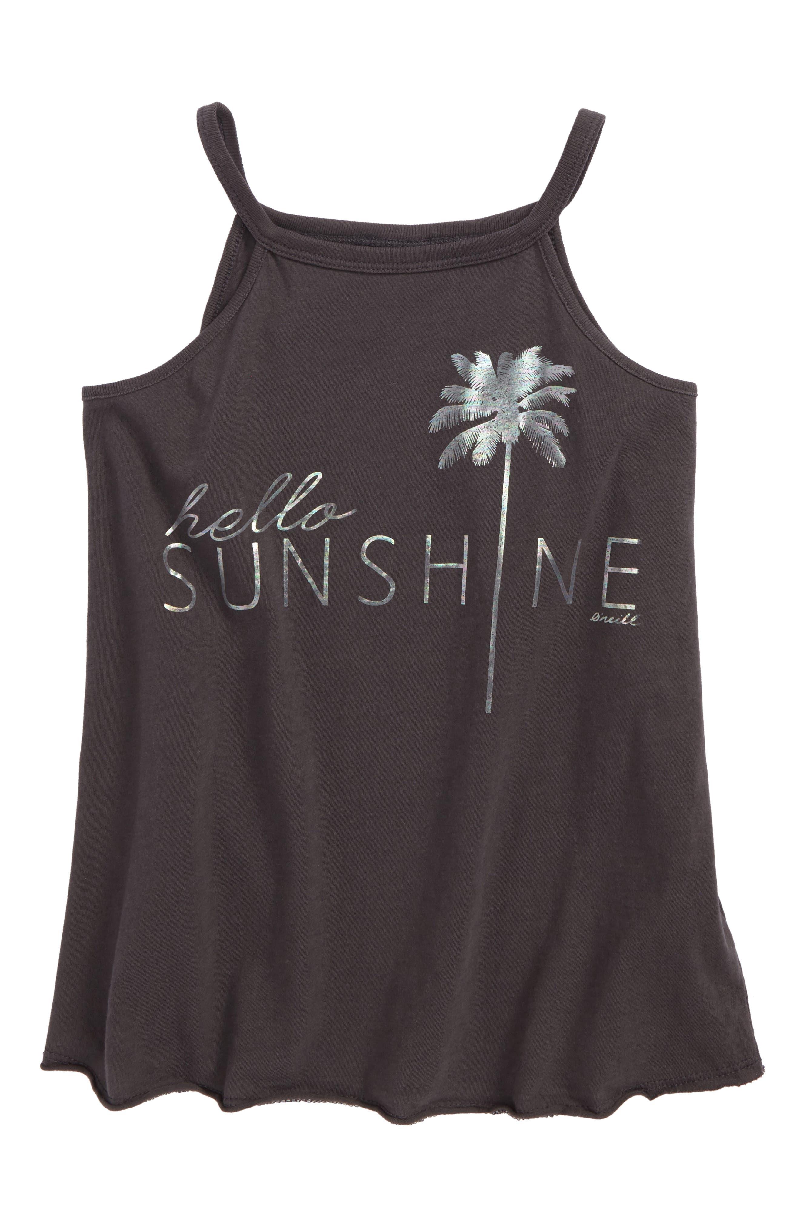 Hello Sunshine Graphic Tank,                         Main,                         color, Washed Black - Fad