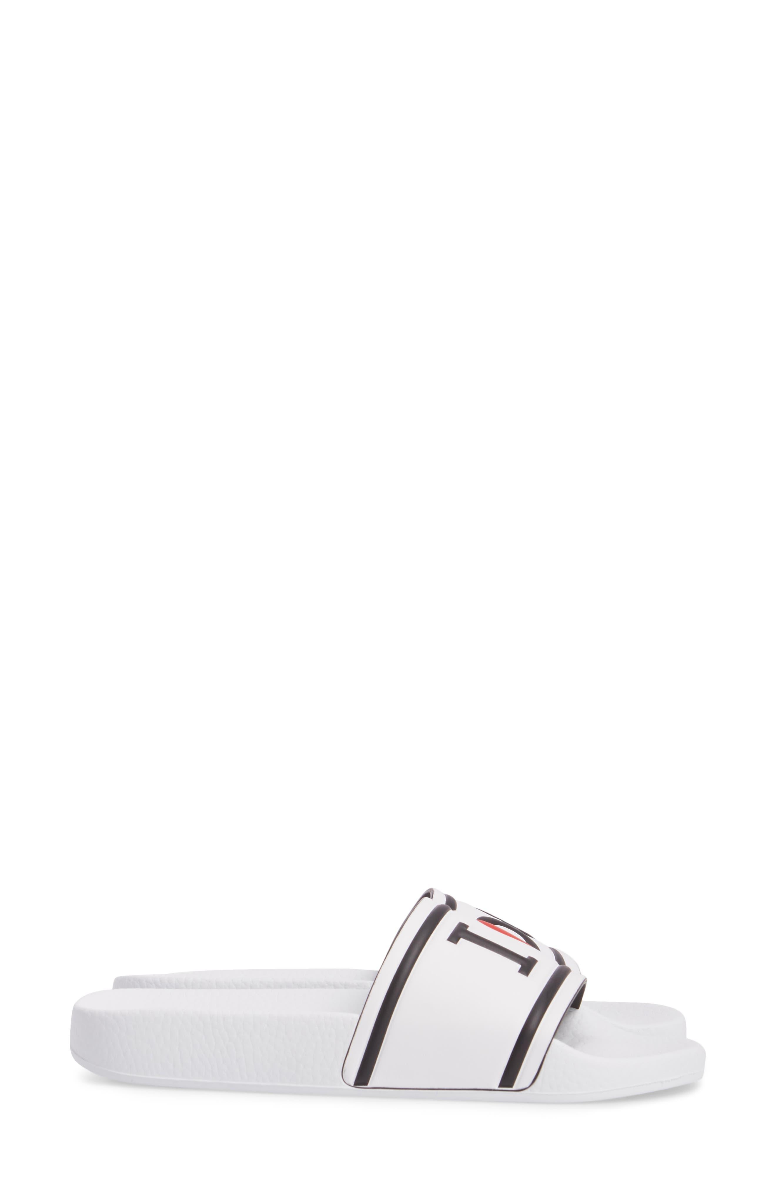 I Love DG Slide Sandal,                             Alternate thumbnail 4, color,                             White