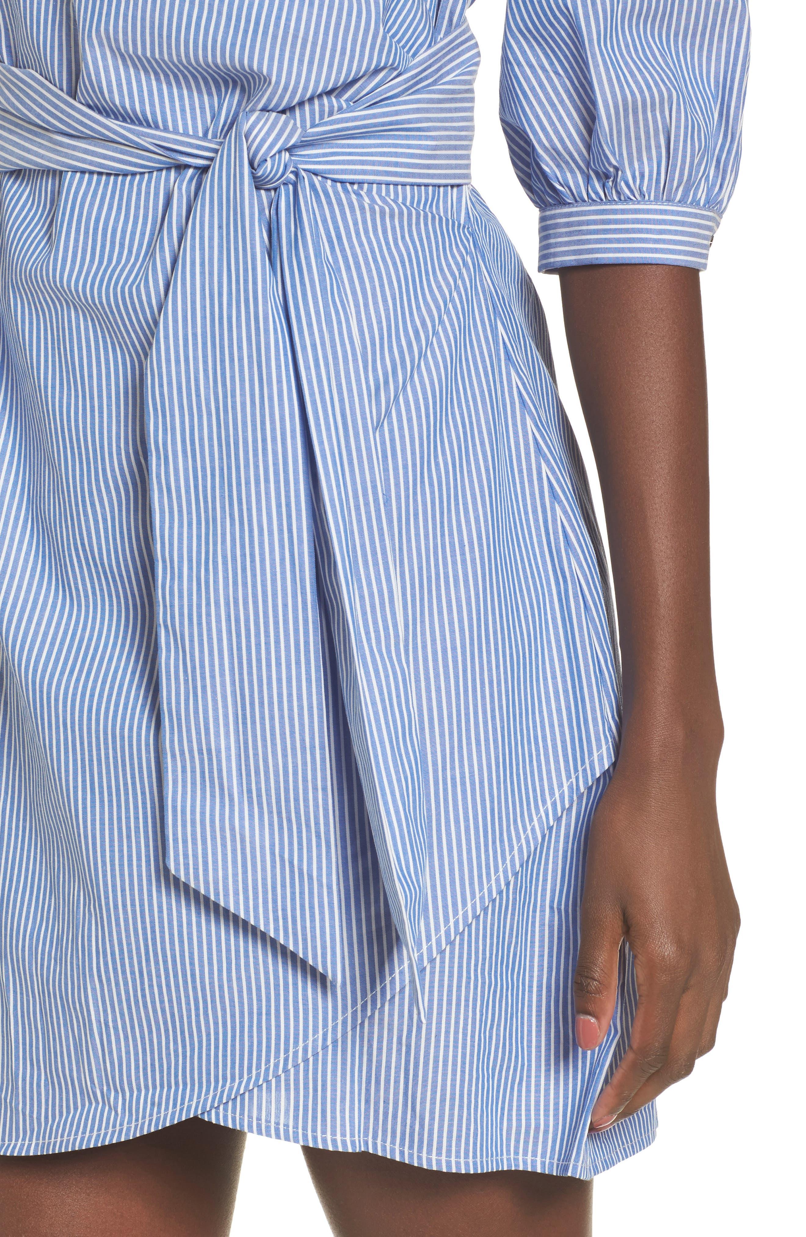 Cotton Poplin Wrap Dress,                             Alternate thumbnail 4, color,                             Blue White Stripe
