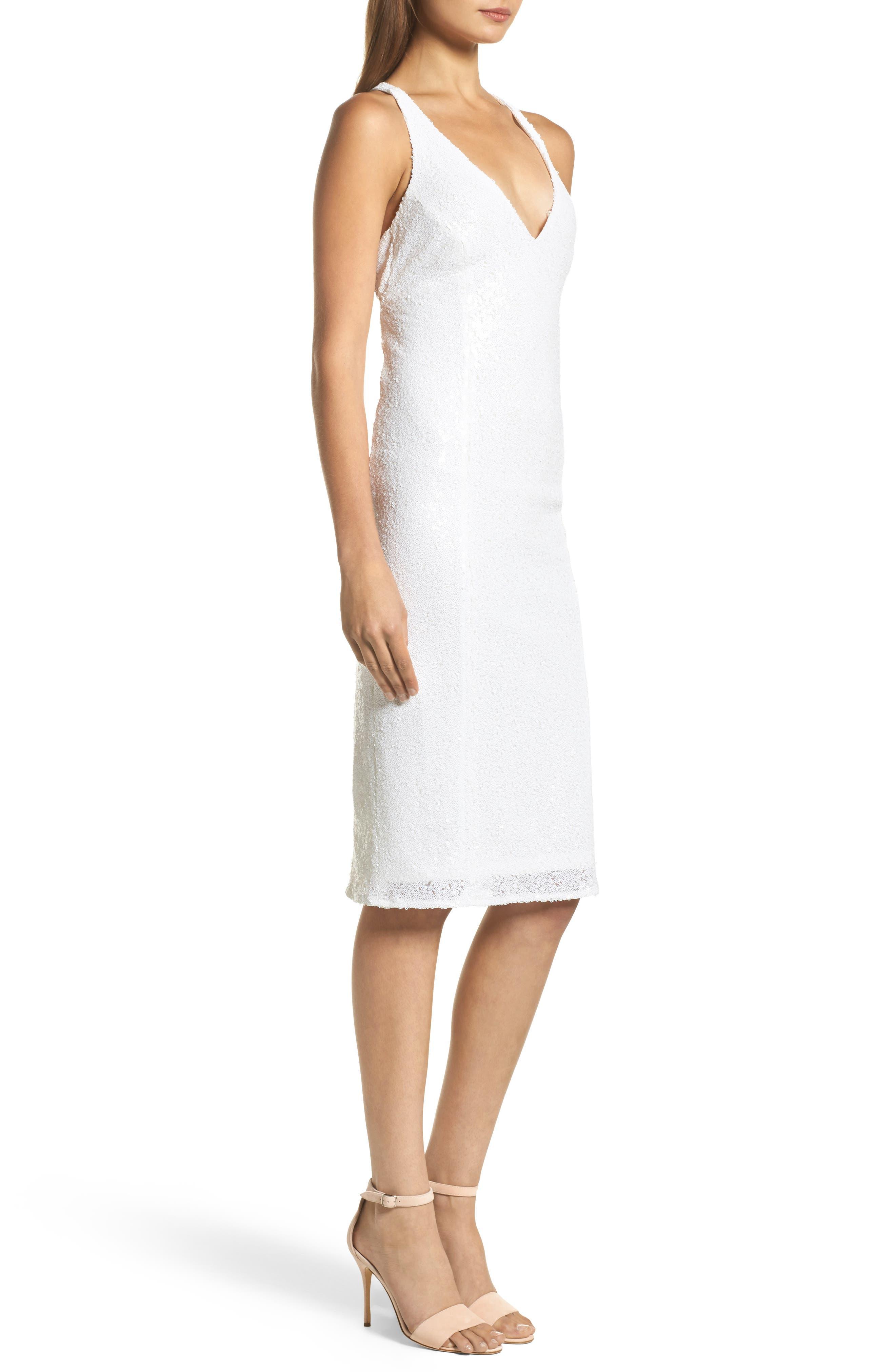 Alo Sequin Halter Dress,                             Alternate thumbnail 3, color,                             Gardenia