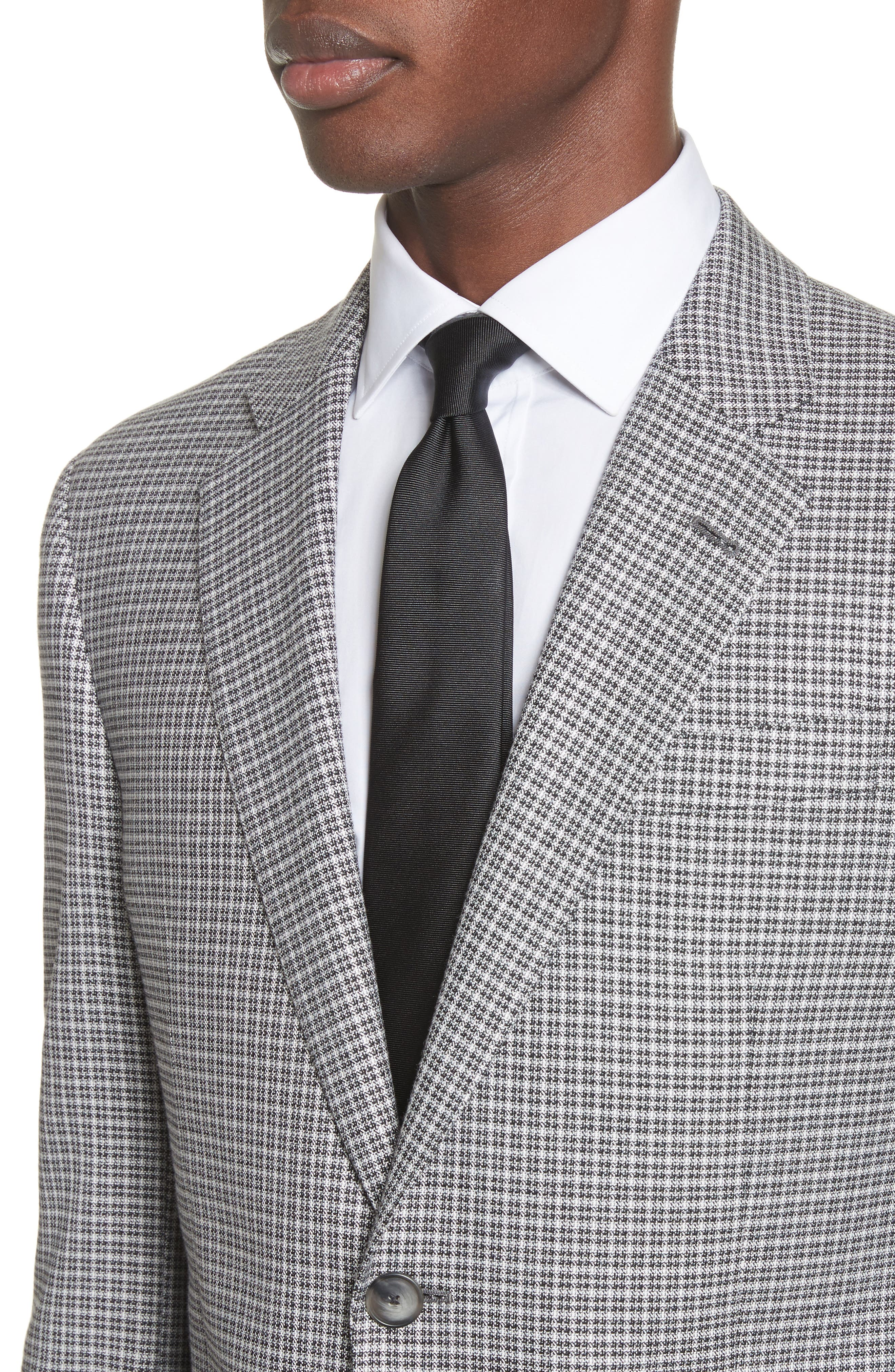 G Line Trim Fit Check Sport Coat,                             Alternate thumbnail 4, color,                             Grey