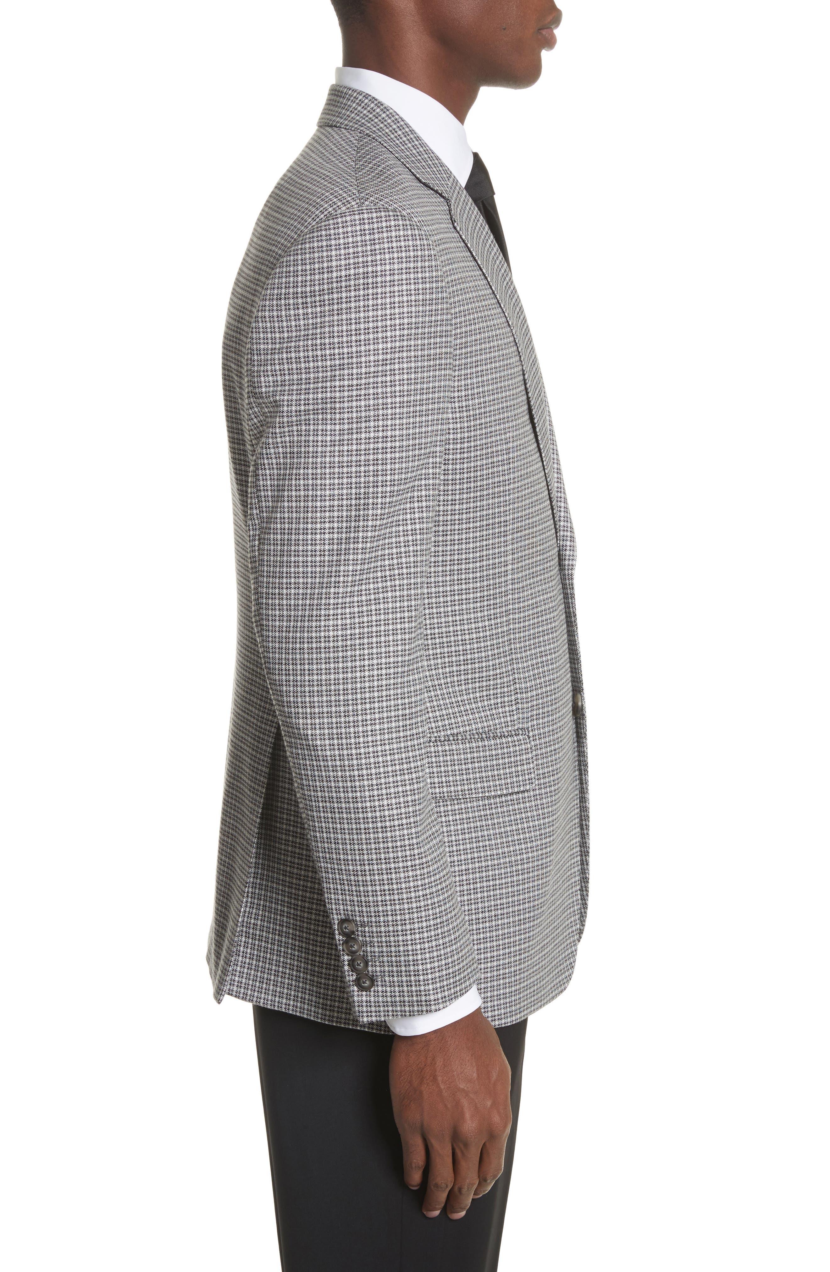 G Line Trim Fit Check Sport Coat,                             Alternate thumbnail 3, color,                             Grey