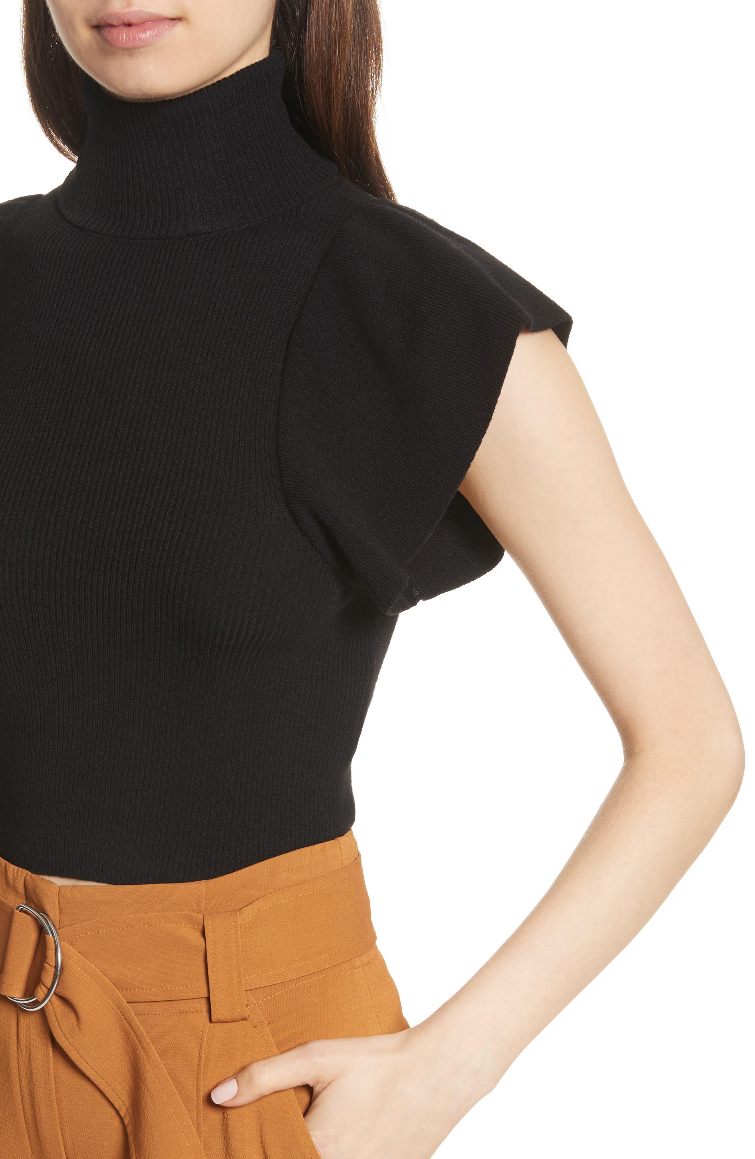 Jae Flutter Sleeve Turtleneck Sweater,                             Alternate thumbnail 4, color,                             Black