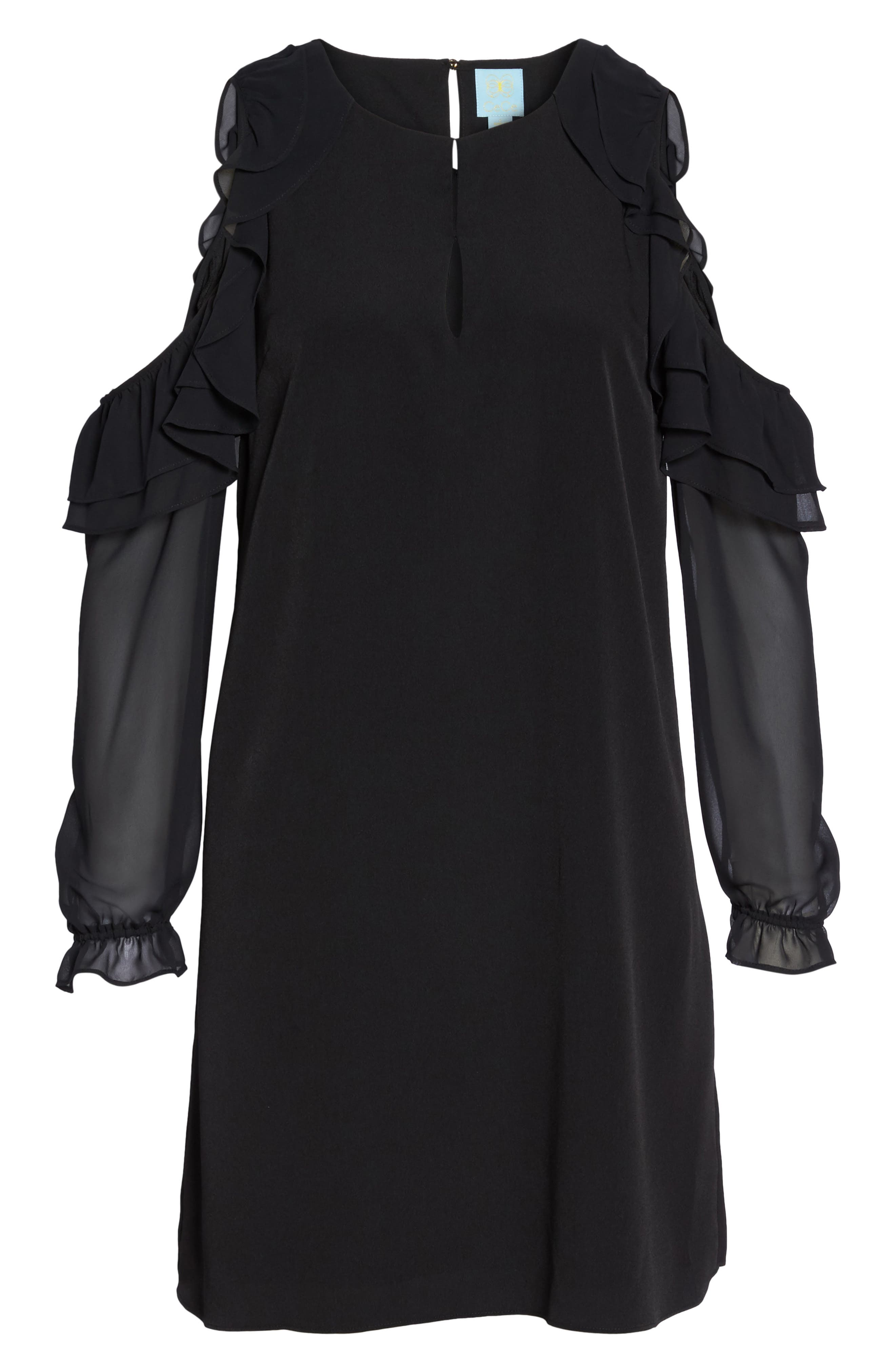 Isabella Cold Shoulder Shift Dress,                             Alternate thumbnail 6, color,                             Rich Black