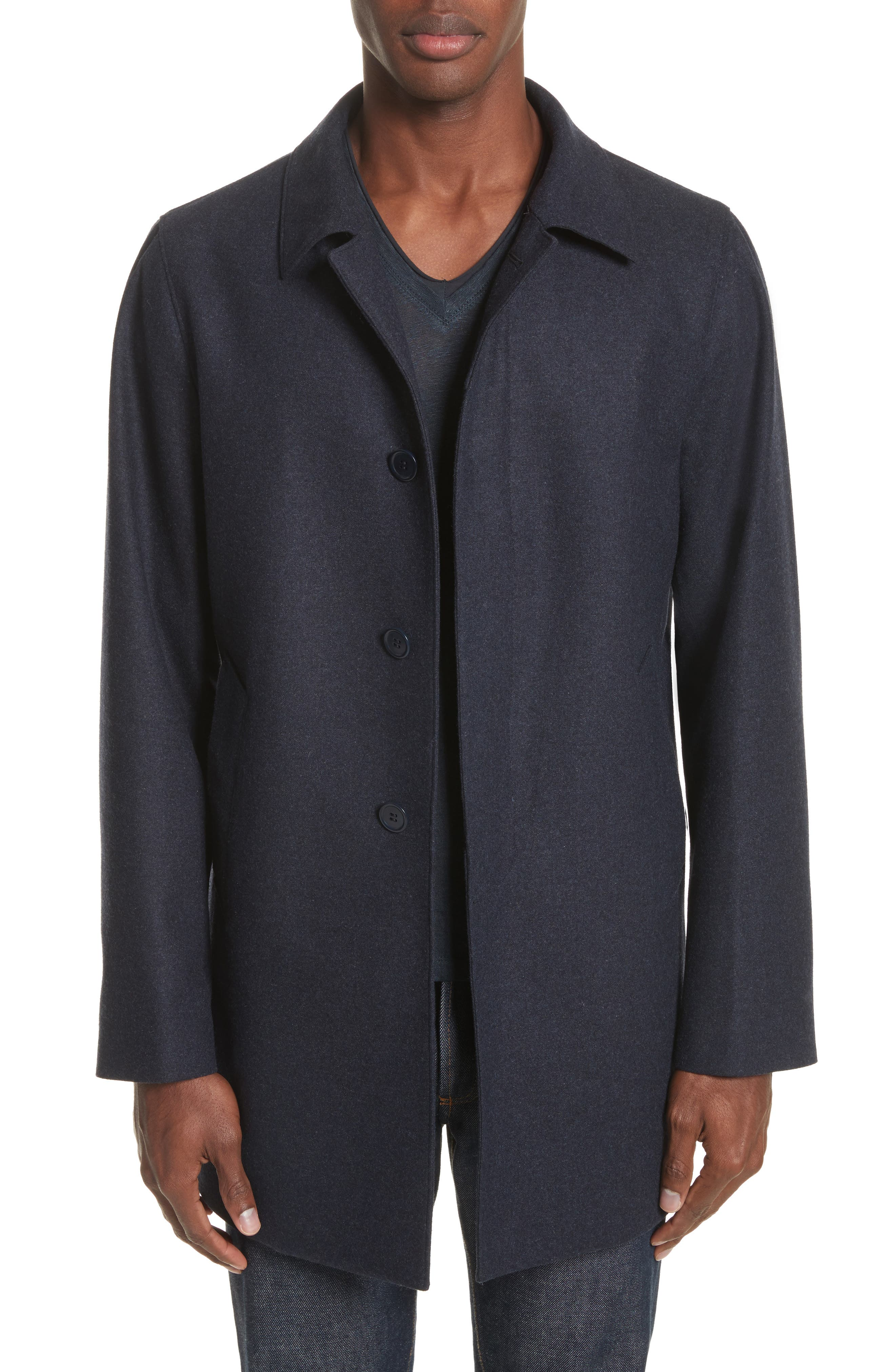 Buckley Wool Blend Topcoat,                         Main,                         color, Navy