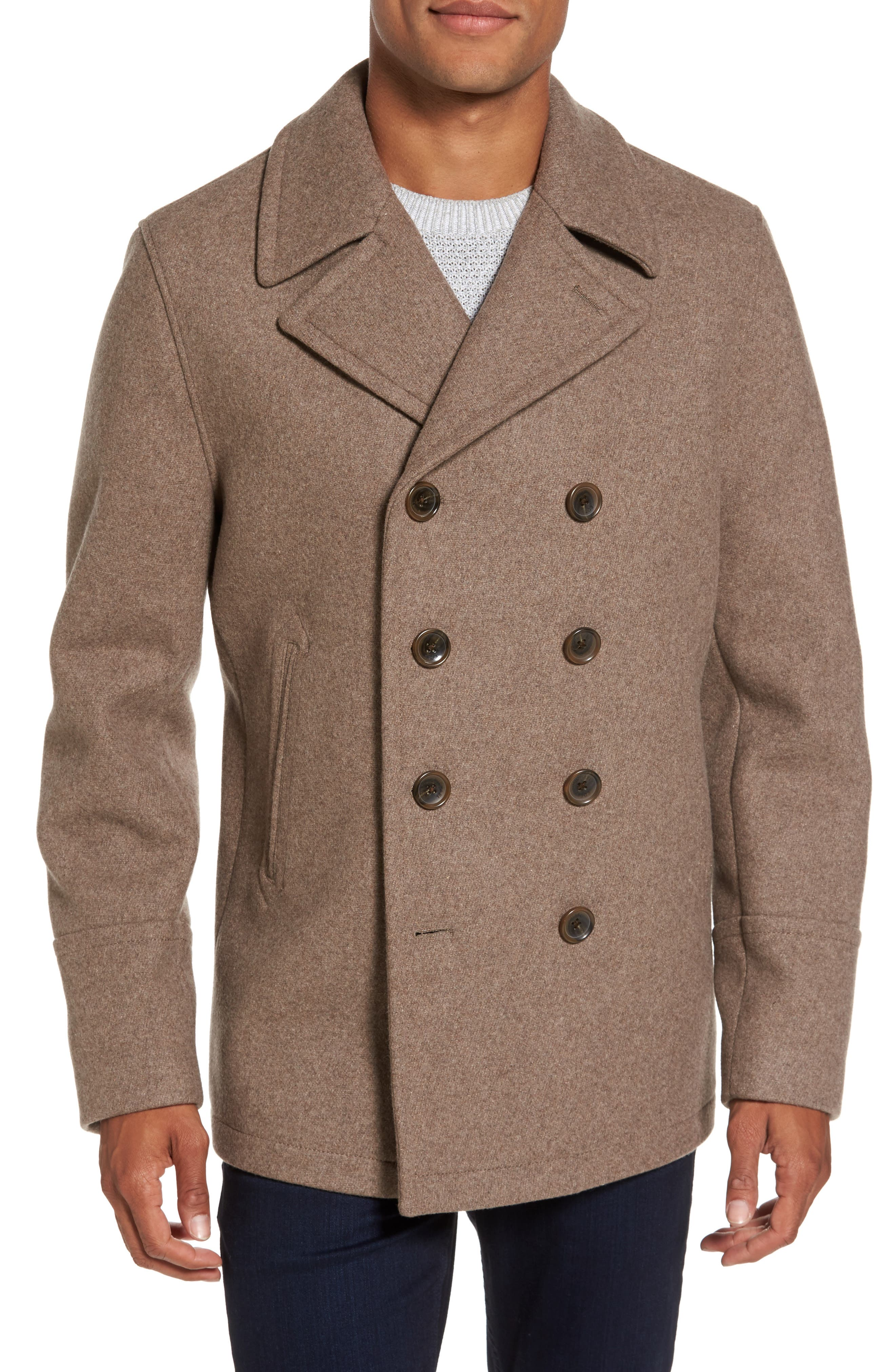 Wool Blend Double Breasted Peacoat,                         Main,                         color, Toast Heather