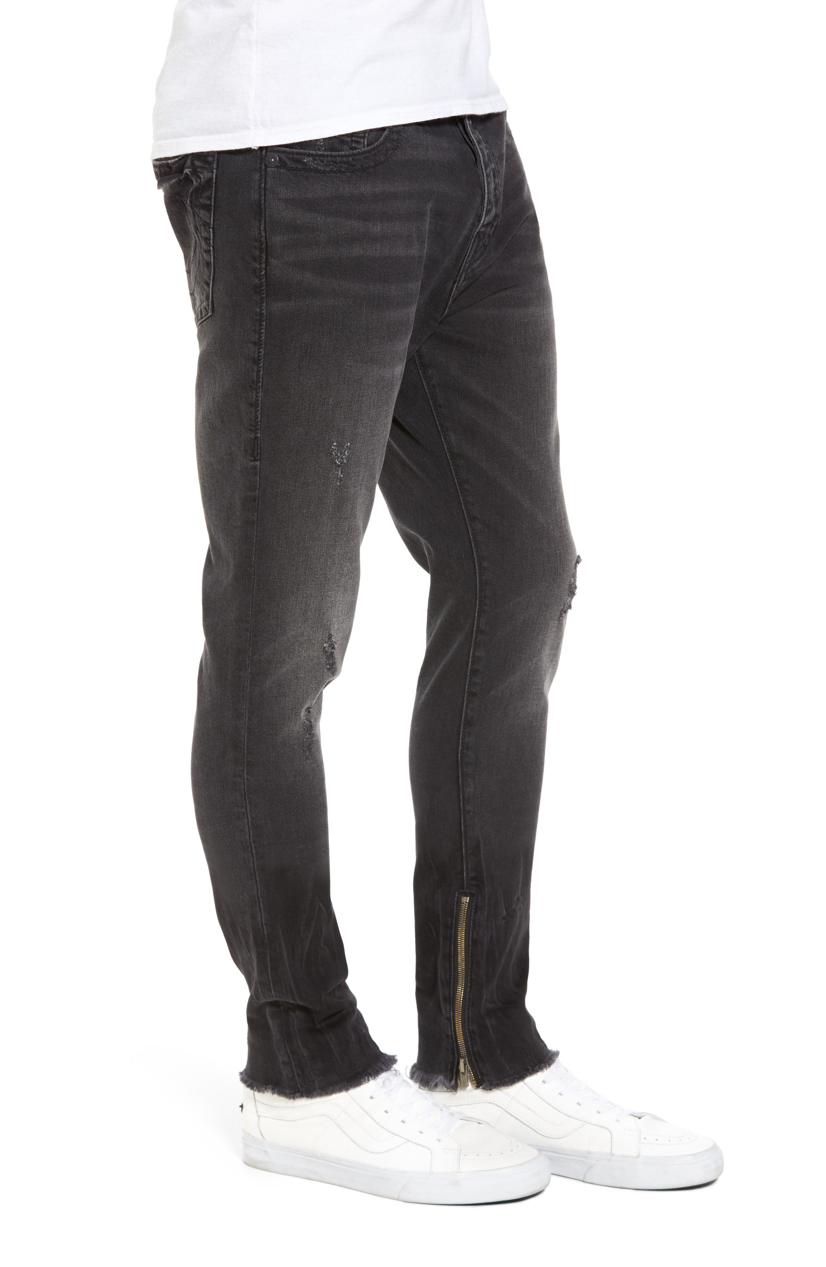 Alternate Image 3  - True Religion Brand Jeans Finn Frayed Skinny Fit Jeans (Dark Envy)