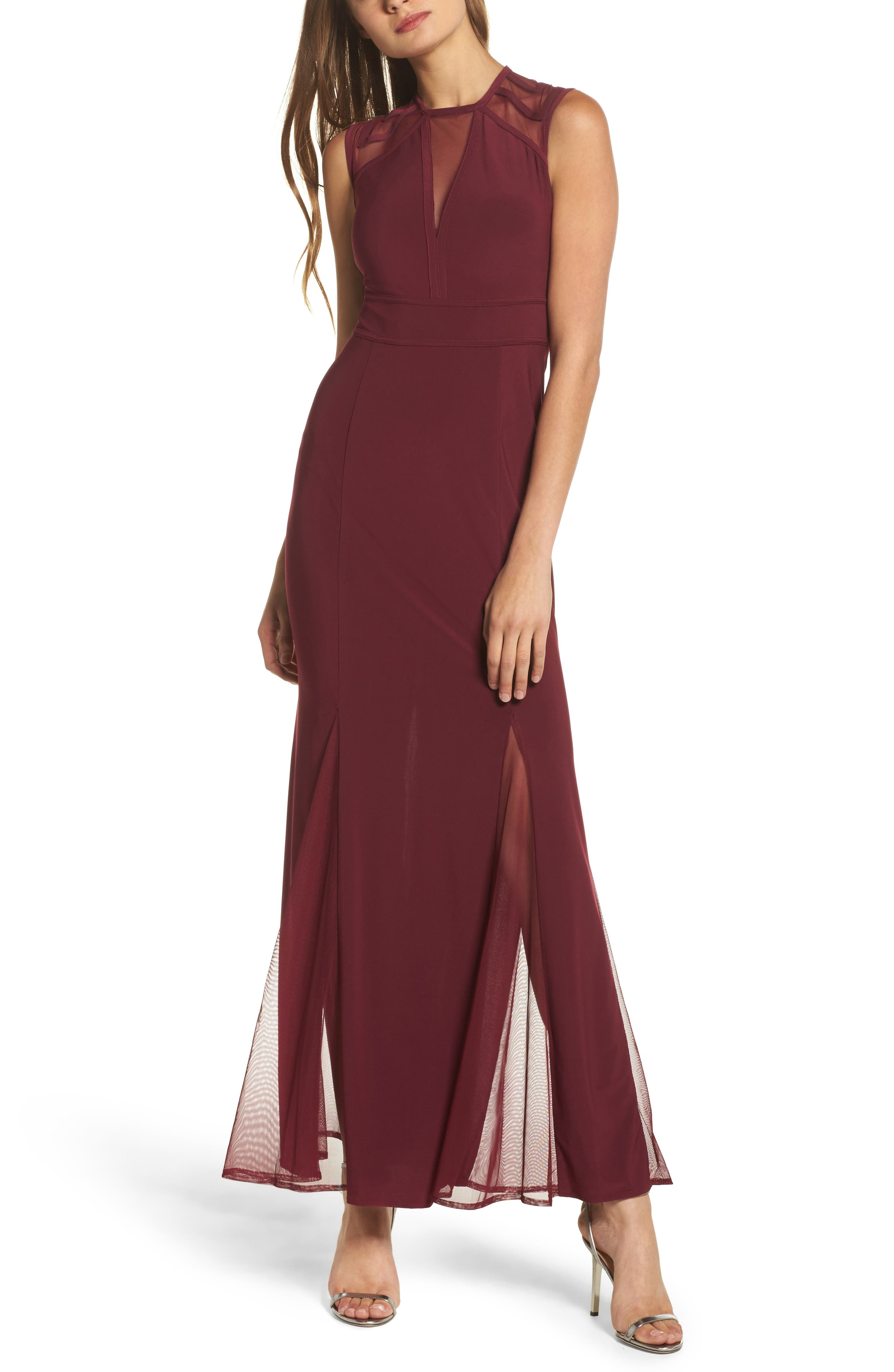 Morgan & Co. Mesh Inset Open Back Gown