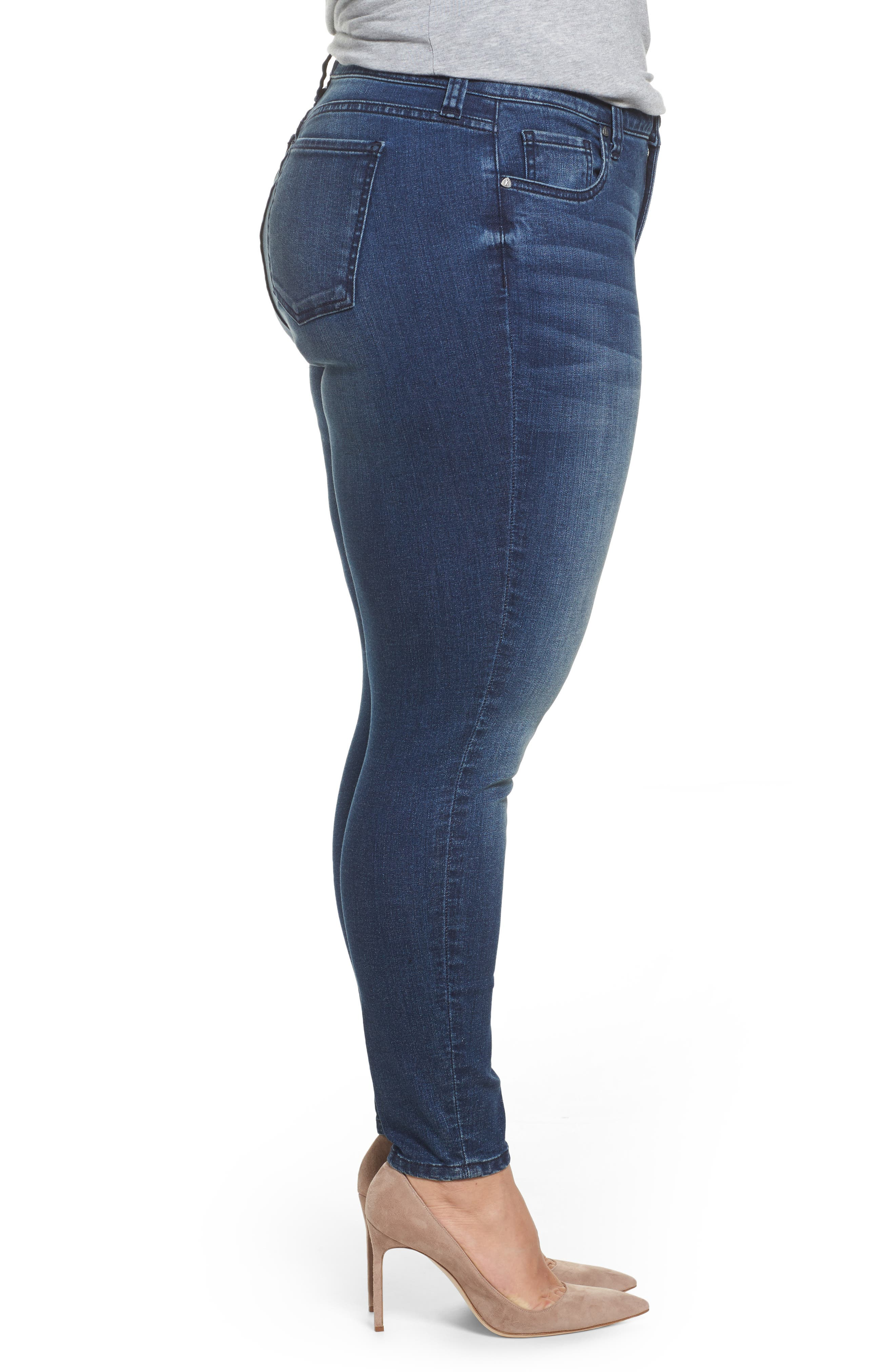 Donna Skinny Ankle Jeans,                             Alternate thumbnail 3, color,                             Cheered