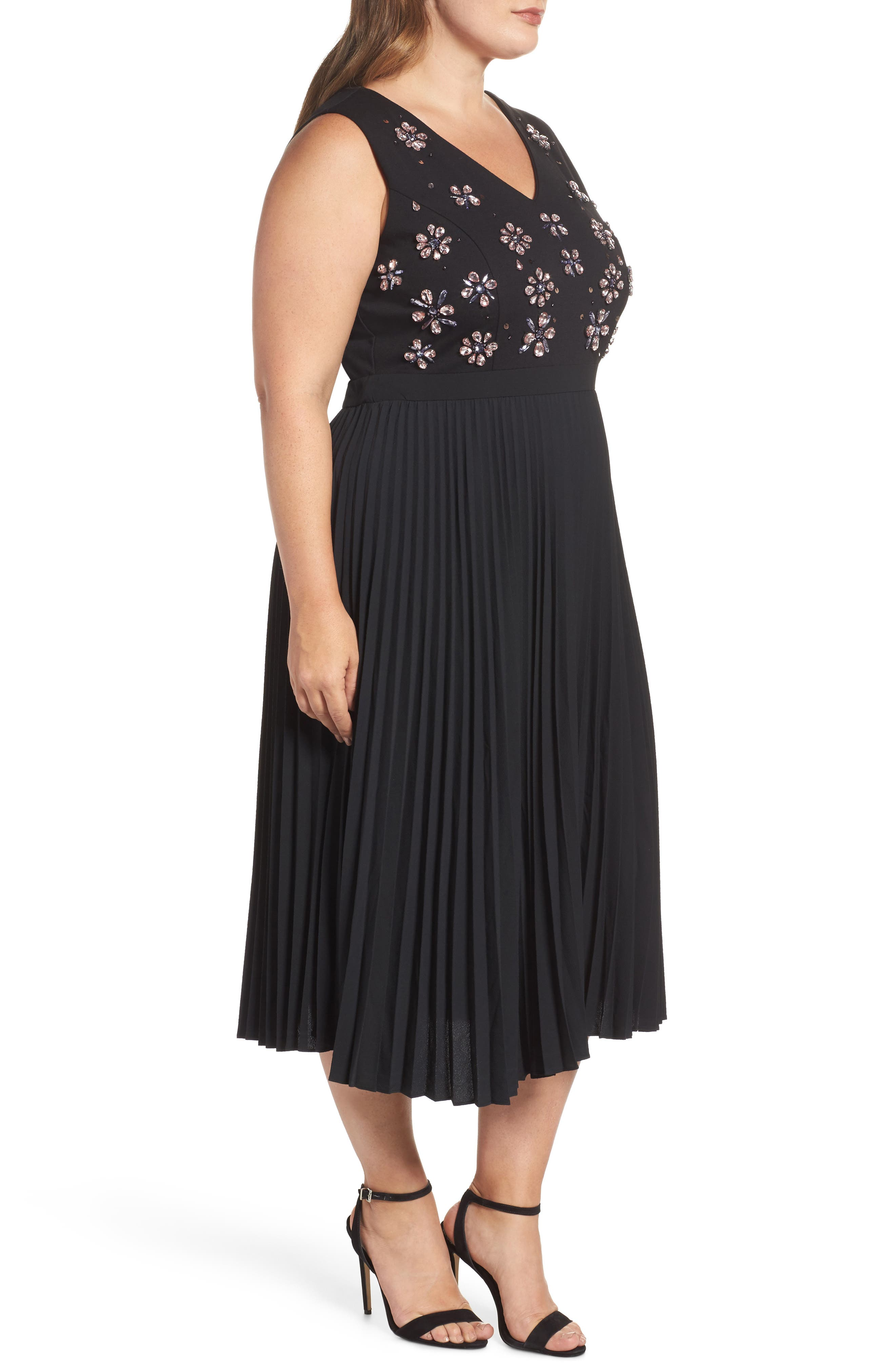 Crystal Flower Embellished Dress,                             Alternate thumbnail 4, color,                             Black