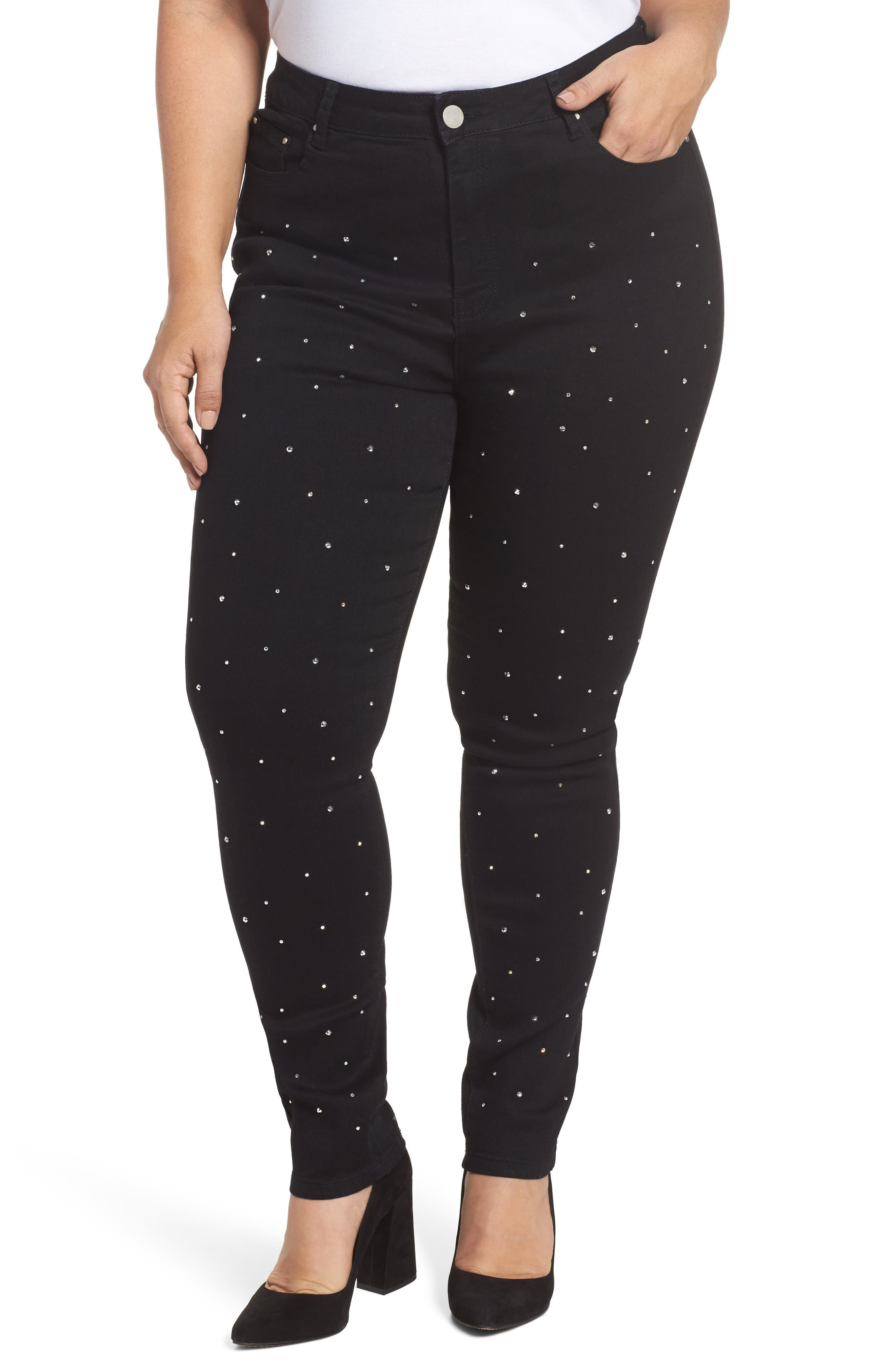Main Image - LOST INK Sequin Skinny Jeans (Plus Size)