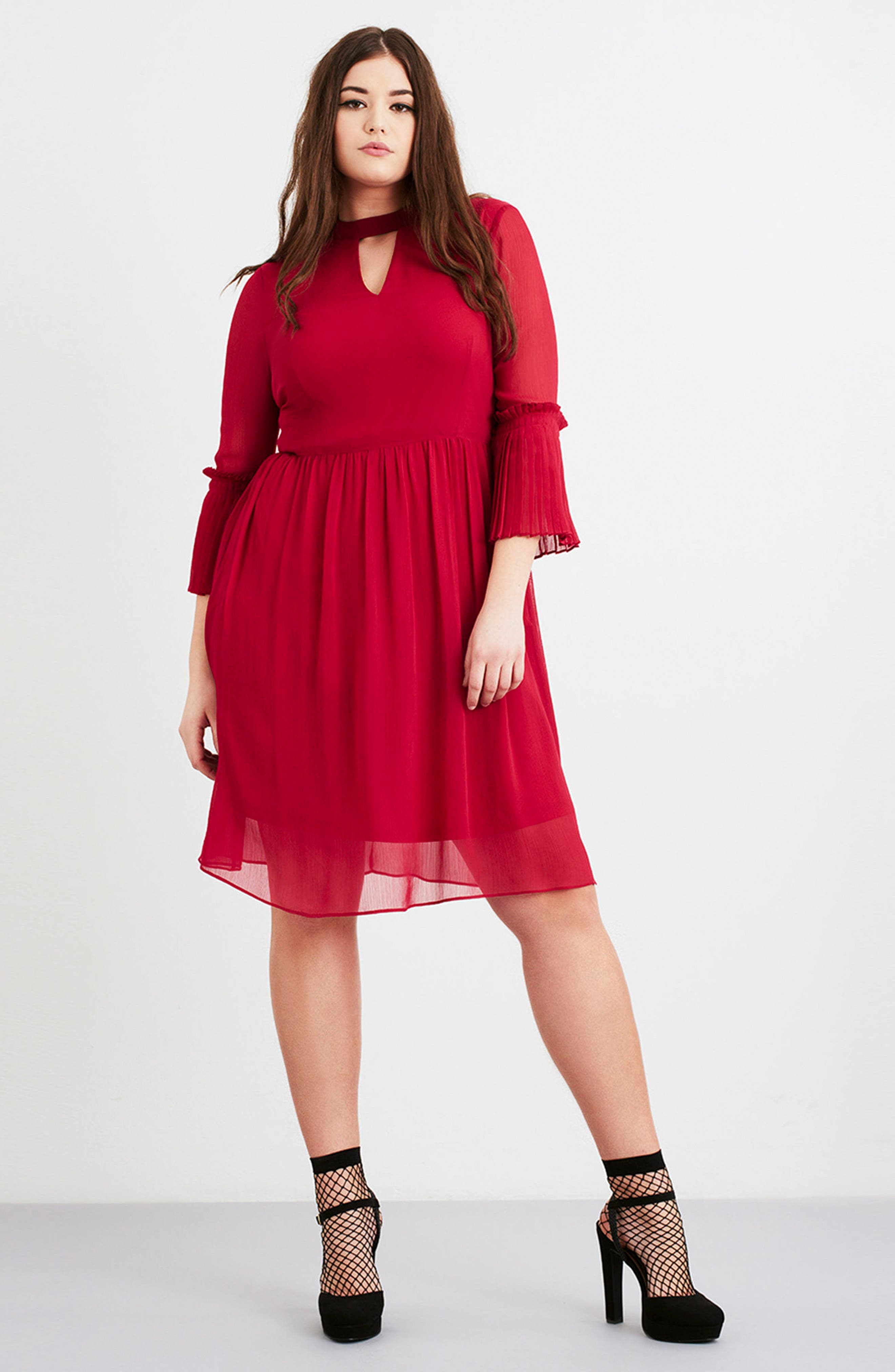 Alternate Image 2  - LOST INK Pleat Cuff Fit & Flare Dress (Plus Size)