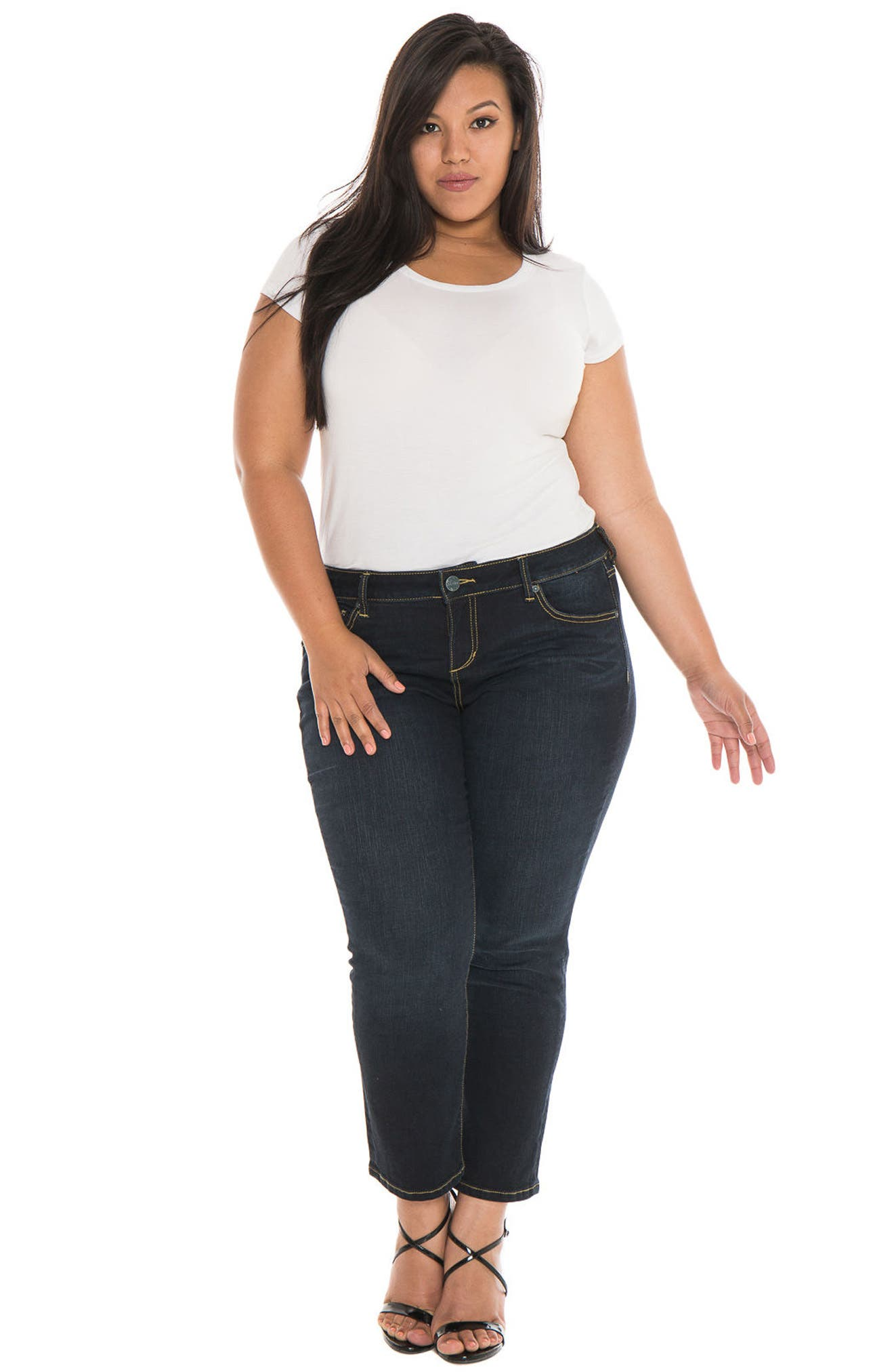 Alternate Image 2  - SLINK Jeans Straight Leg Jeans (Summer) (Plus Size)