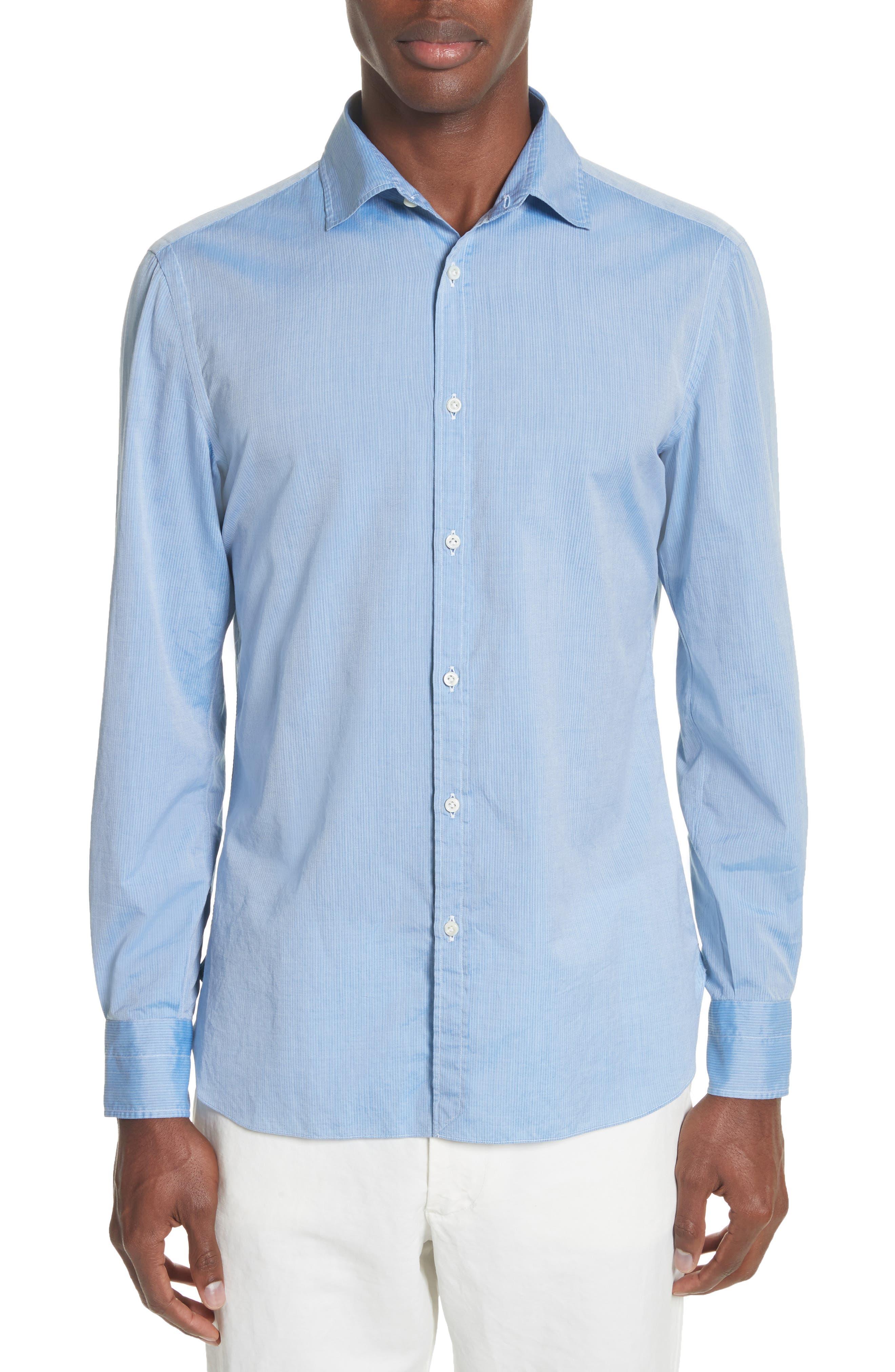 JB Washed Stripe Sport Shirt,                         Main,                         color, Blue