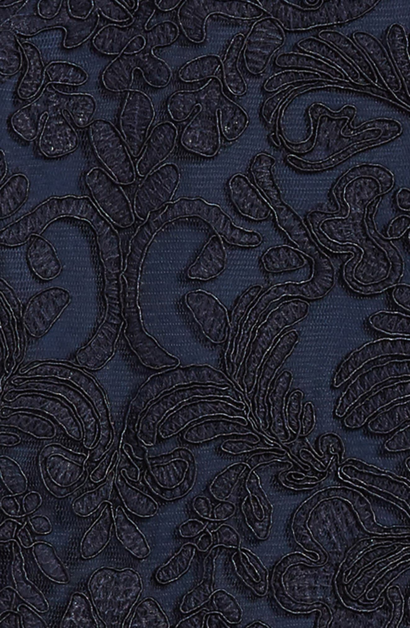 'Honeysuckle' Embroidered Tulle Dress,                             Alternate thumbnail 3, color,                             Navy