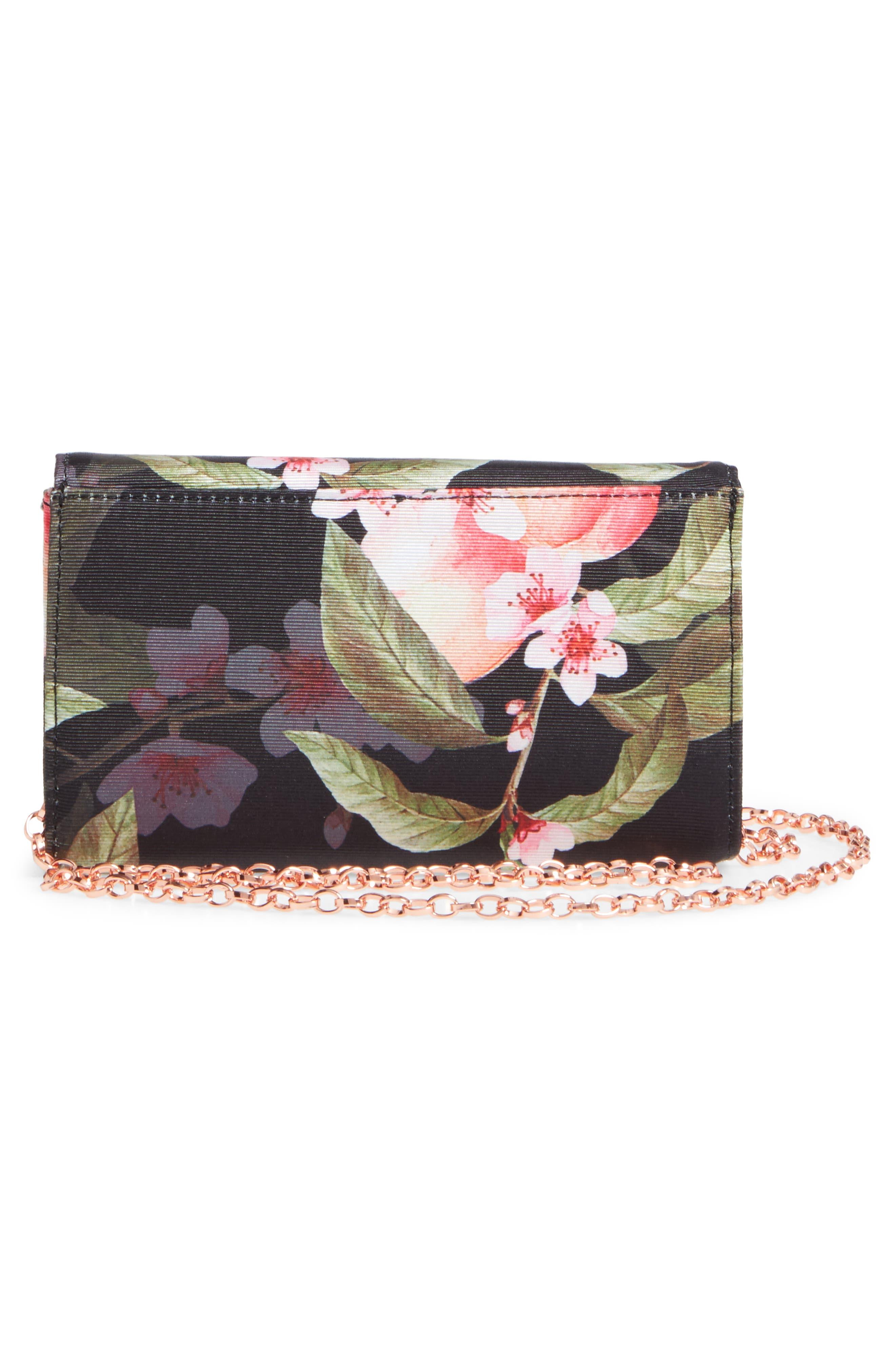 Pauleen Peach Blossom Crossbody Bag,                             Alternate thumbnail 3, color,                             Black