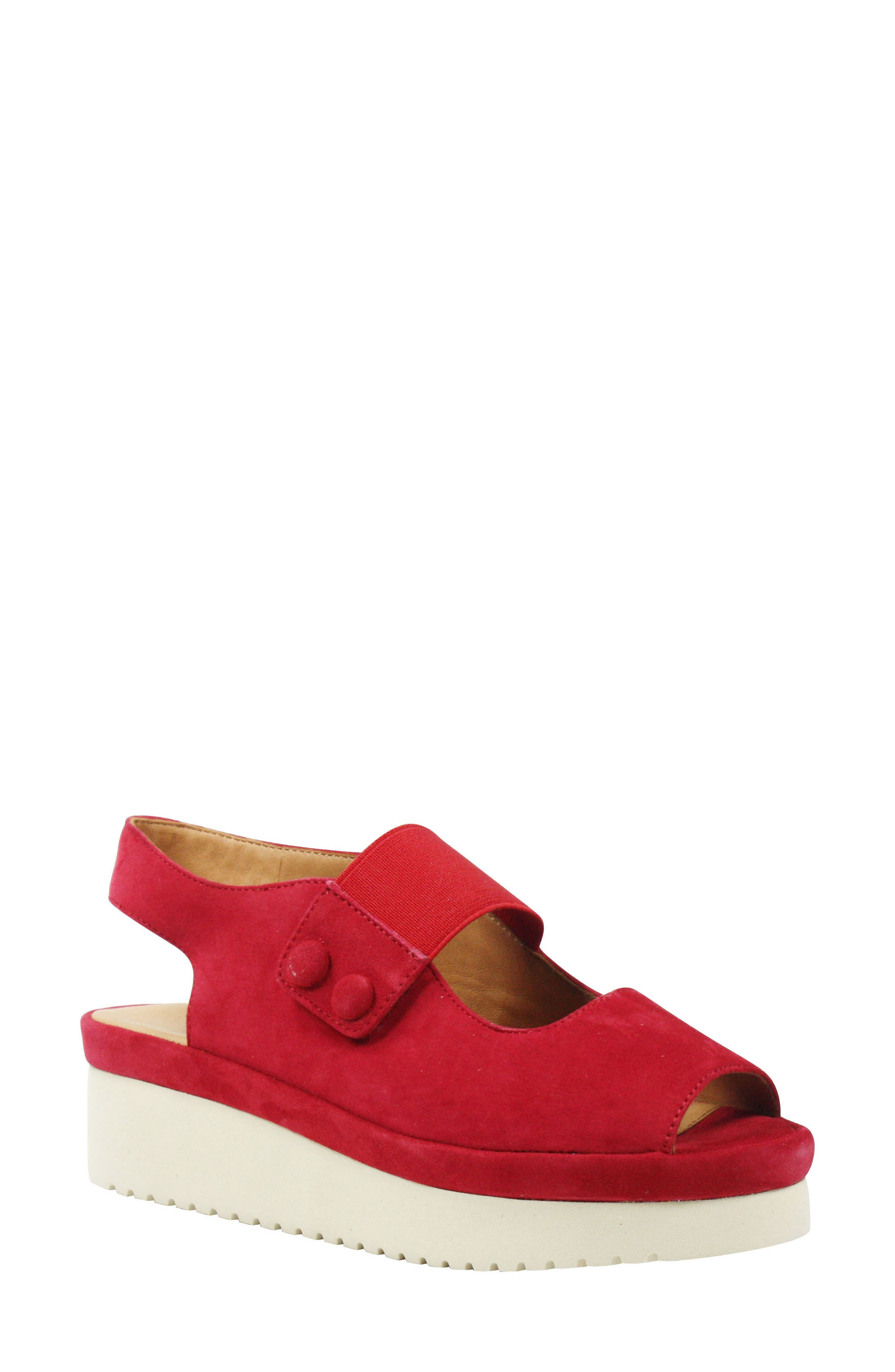 Adalicia Platform Sandal,                             Main thumbnail 1, color,                             Bright Red Suede