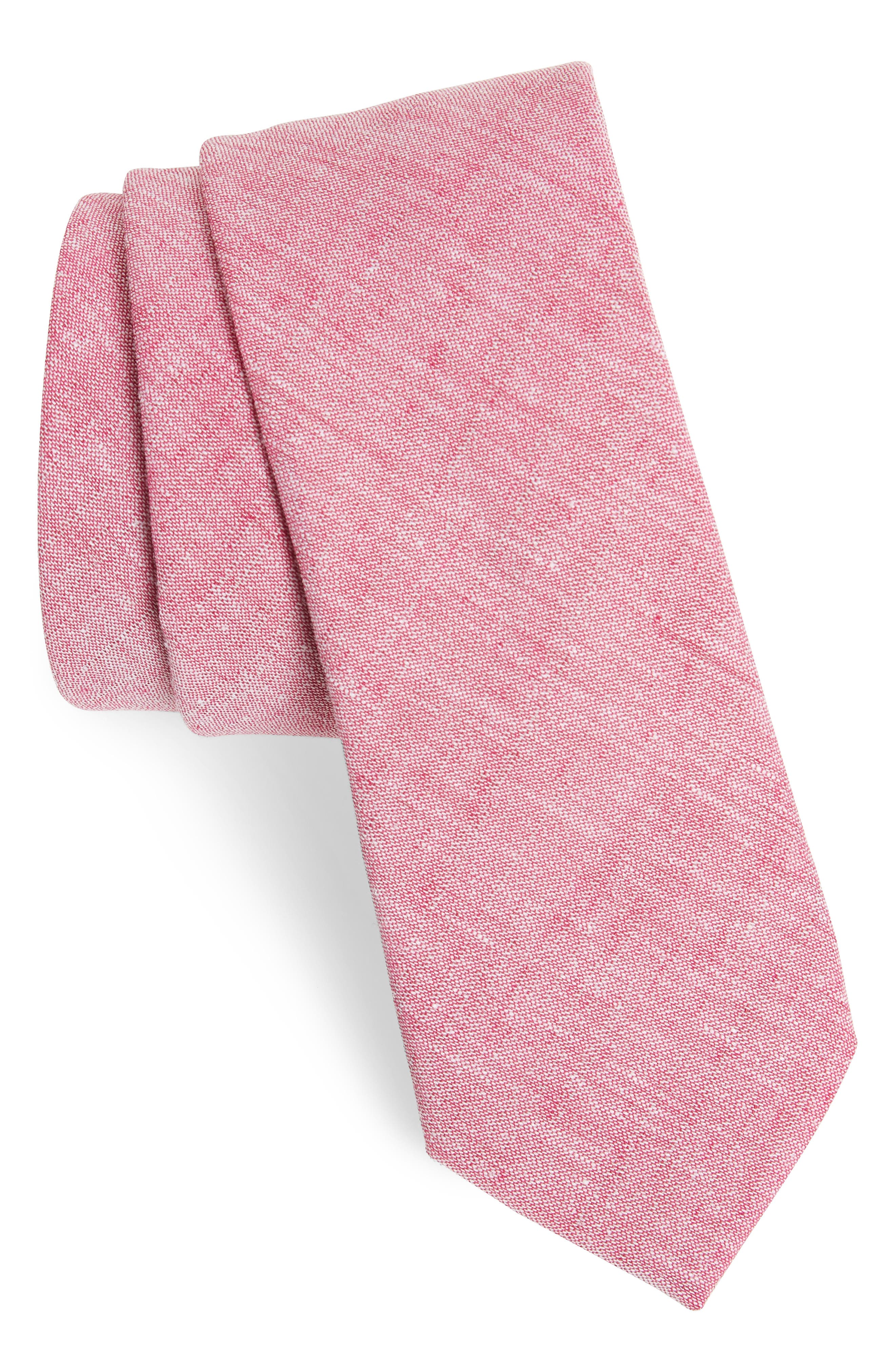 Collins Solid Skinny Tie,                             Main thumbnail 1, color,                             Red