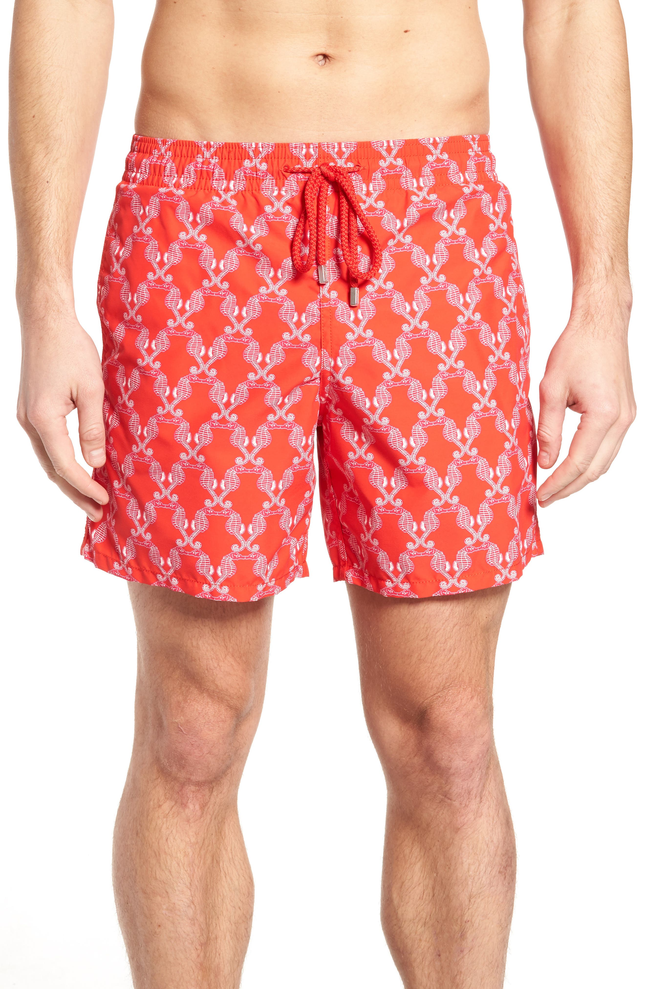 Seahorses Swim Trunks,                         Main,                         color, Poppy Red