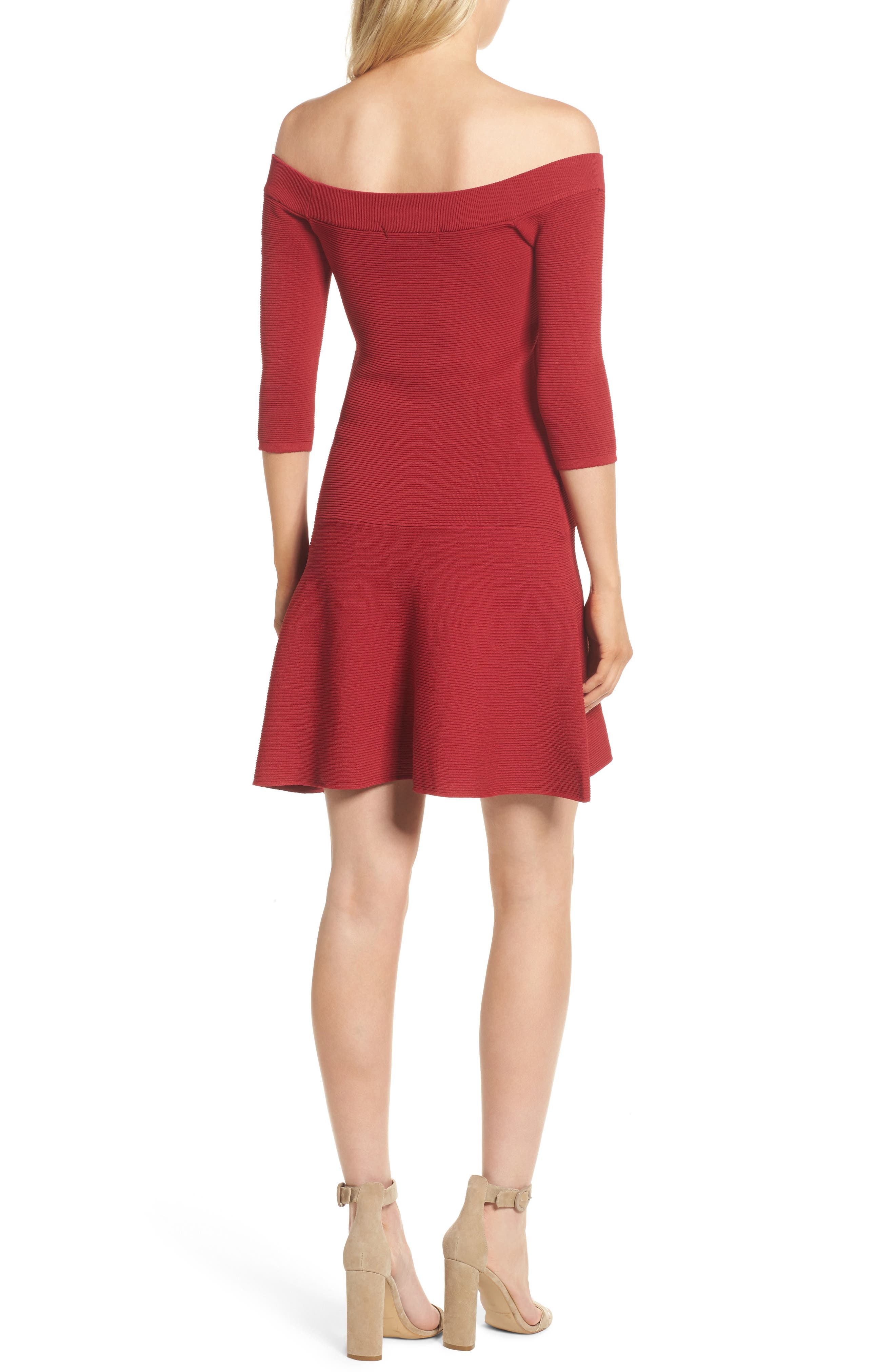 Whitley Off the Shoulder Dress,                             Alternate thumbnail 2, color,                             Crimson