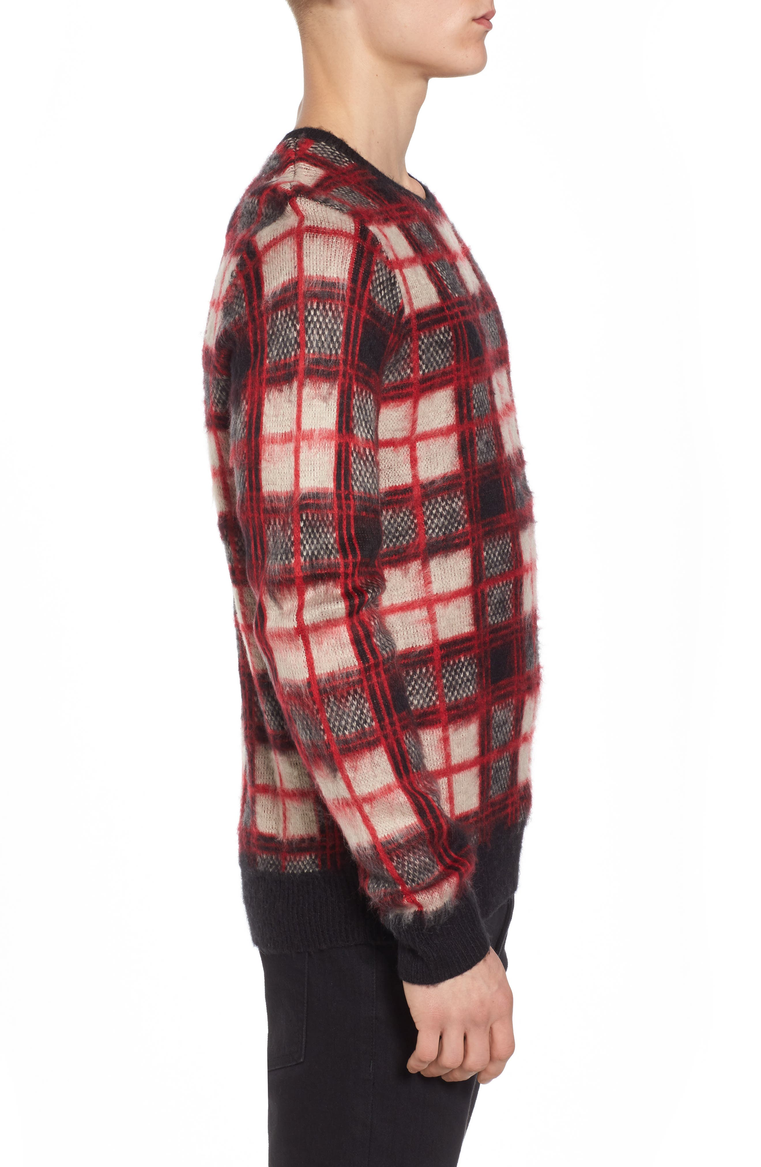 Fuzzy Plaid Sweater,                             Alternate thumbnail 3, color,                             Red Chili- Grey Plaid