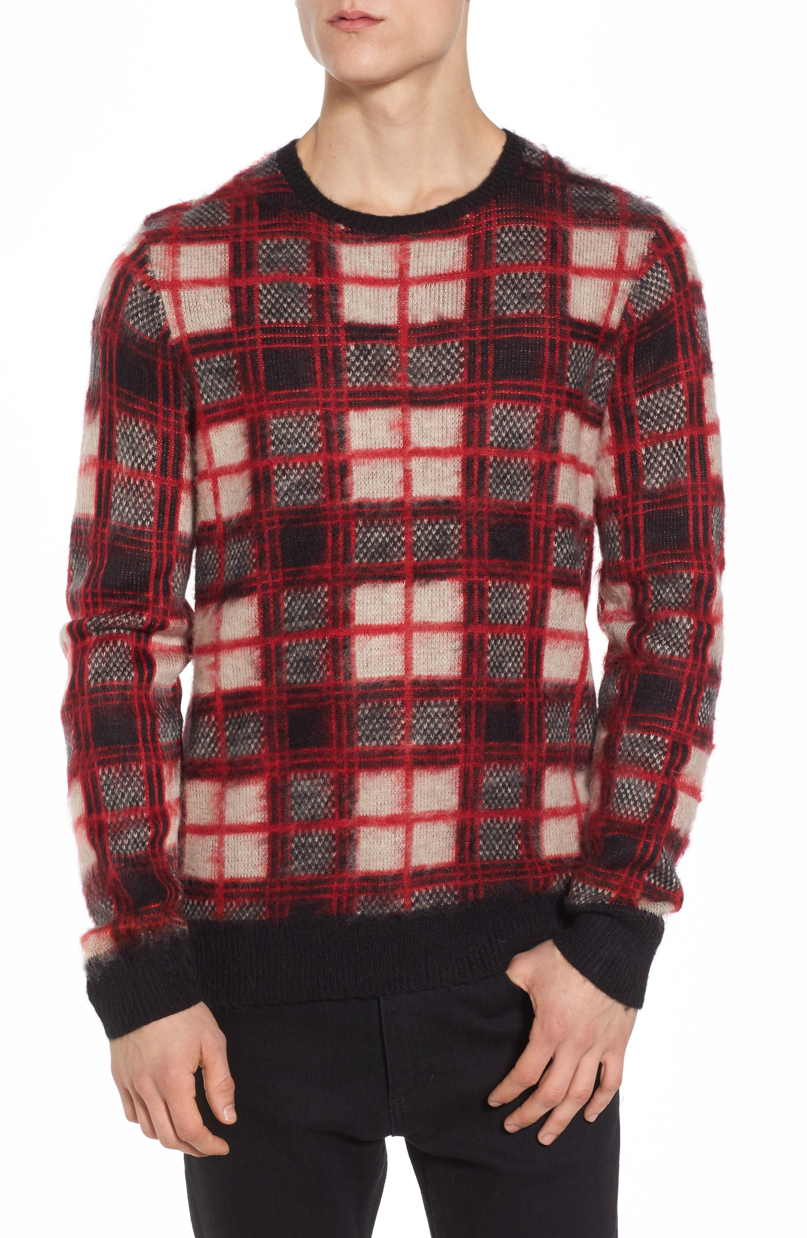 Fuzzy Plaid Sweater,                         Main,                         color, Red Chili- Grey Plaid