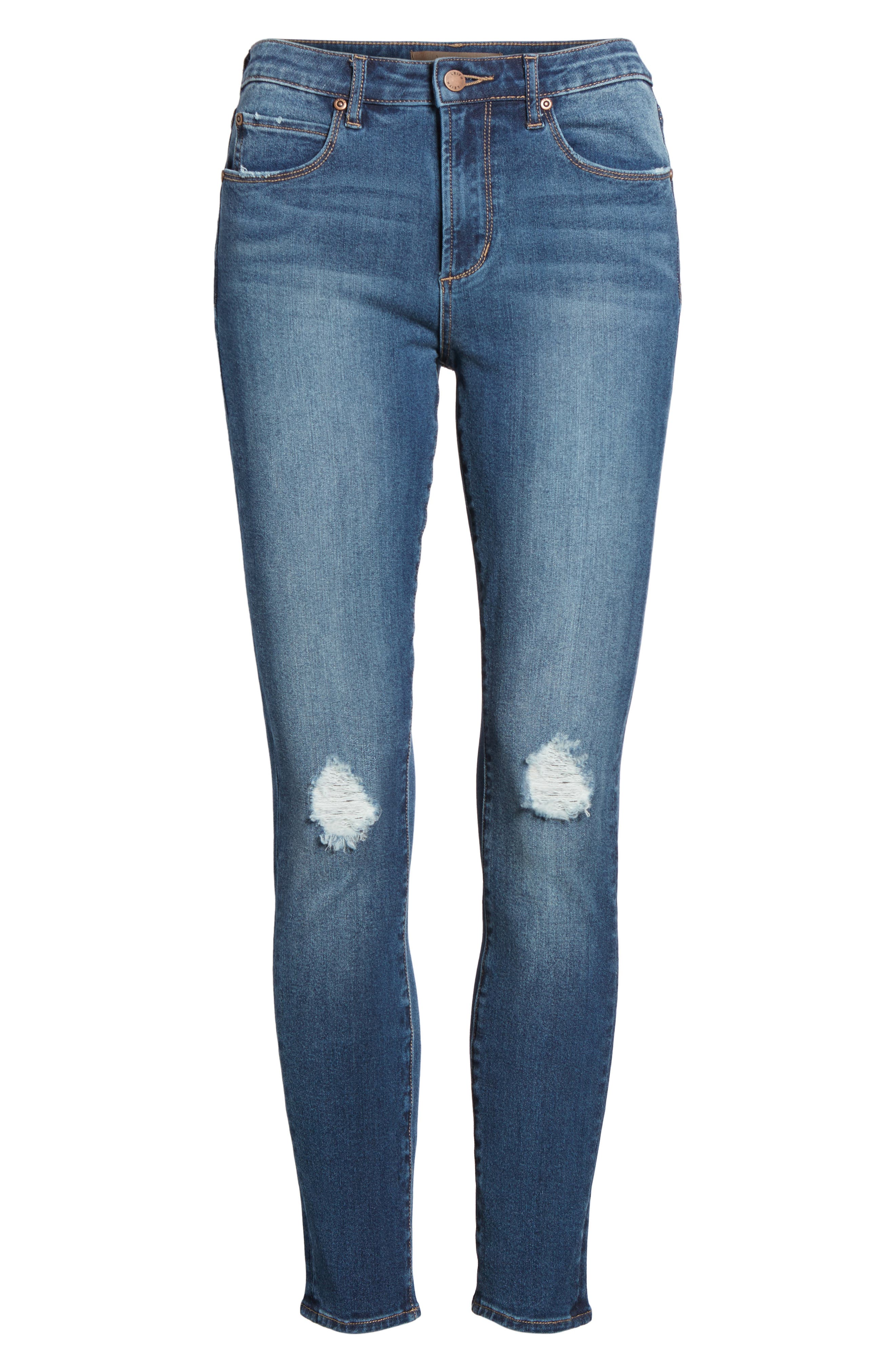 Distressed Skinny Ankle Jeans,                             Alternate thumbnail 7, color,                             Medium Wash