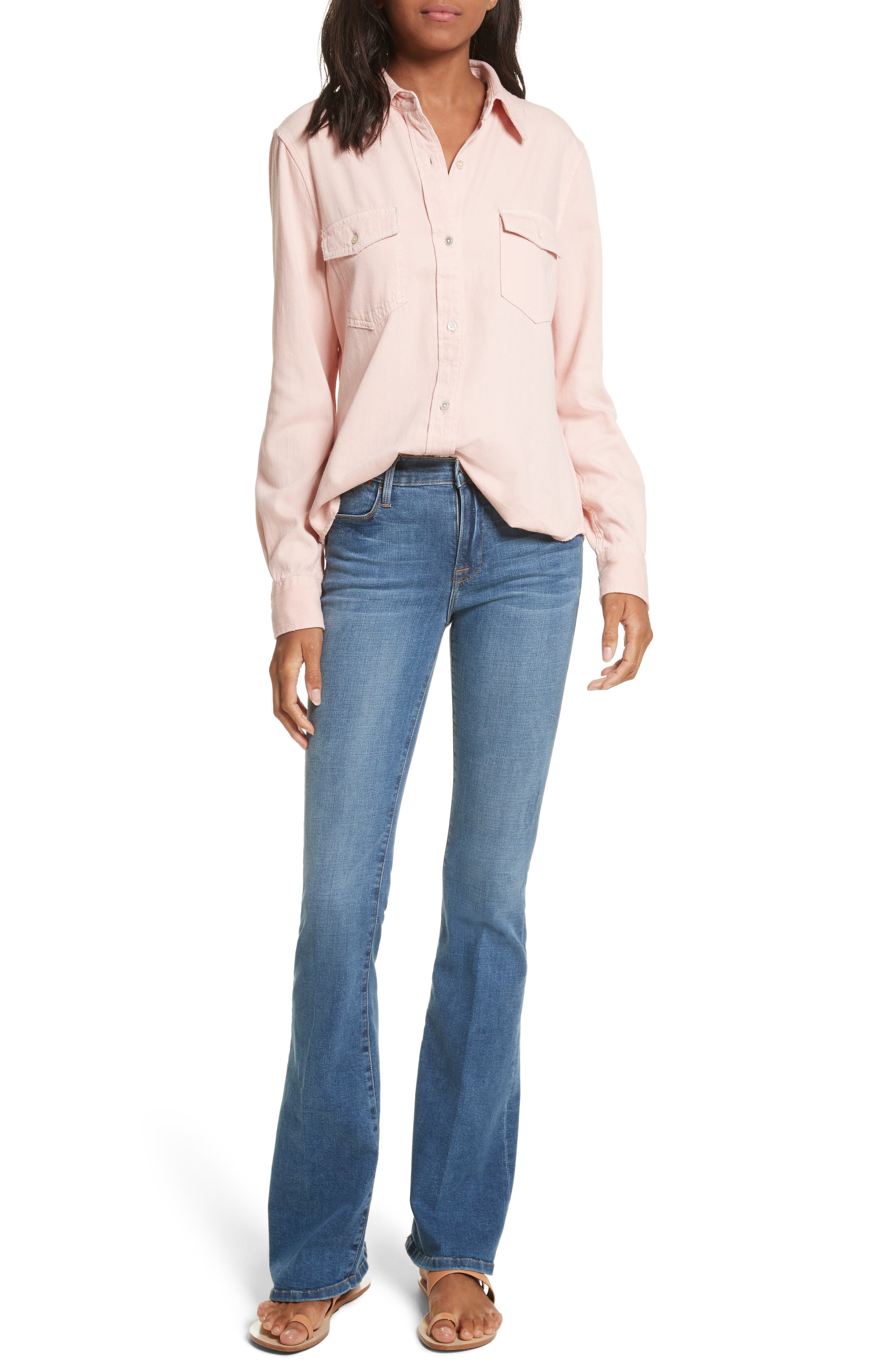 Denim Military Shirt,                             Alternate thumbnail 6, color,                             Faded Light Pink Exclusive
