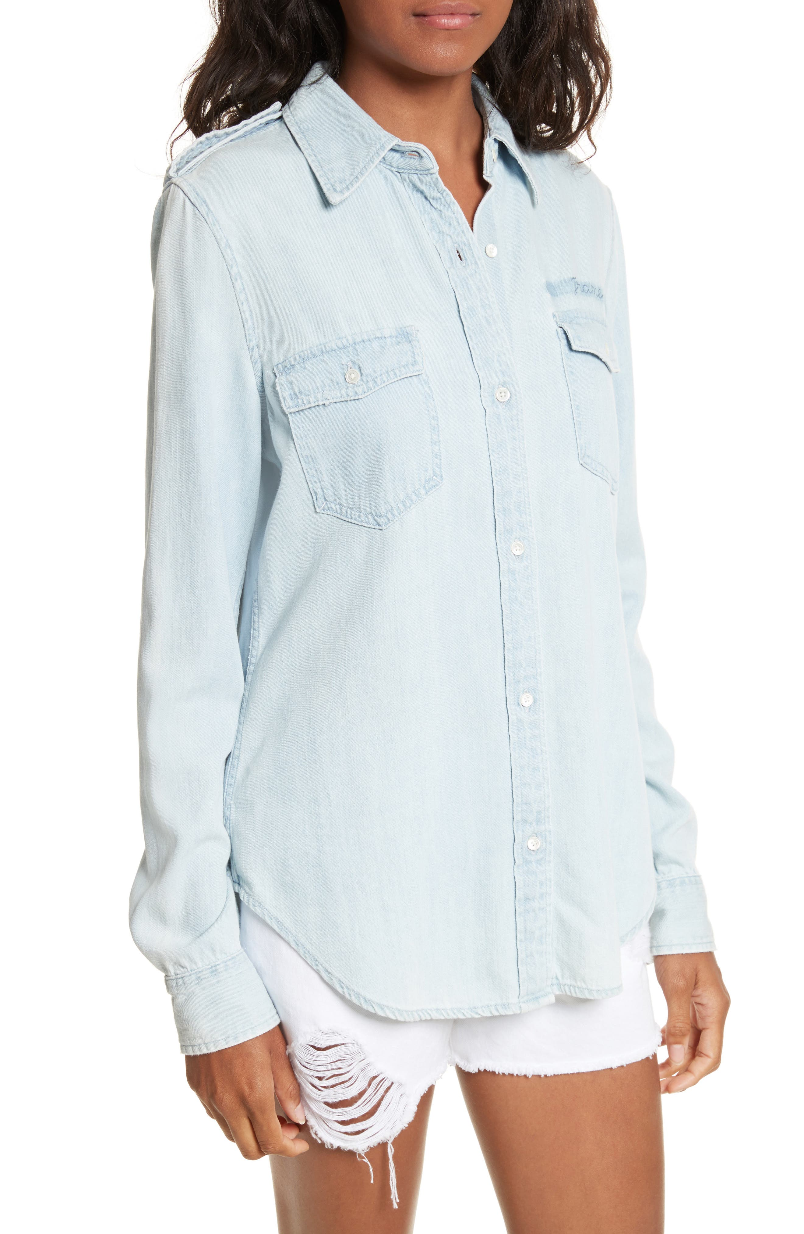 Denim Military Shirt,                             Alternate thumbnail 4, color,                             Kensington