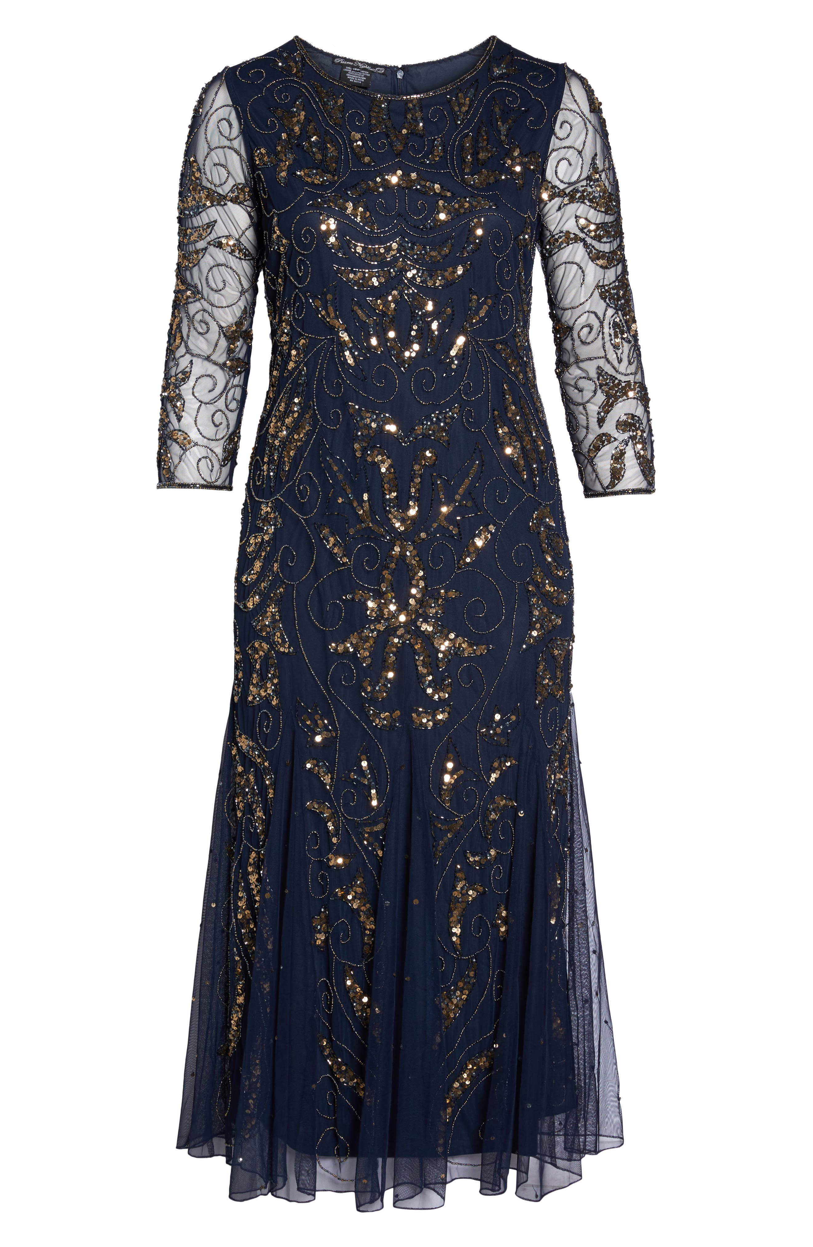 Embellished Three Quarter Sleeve Gown,                             Alternate thumbnail 6, color,                             Navy/ Gold