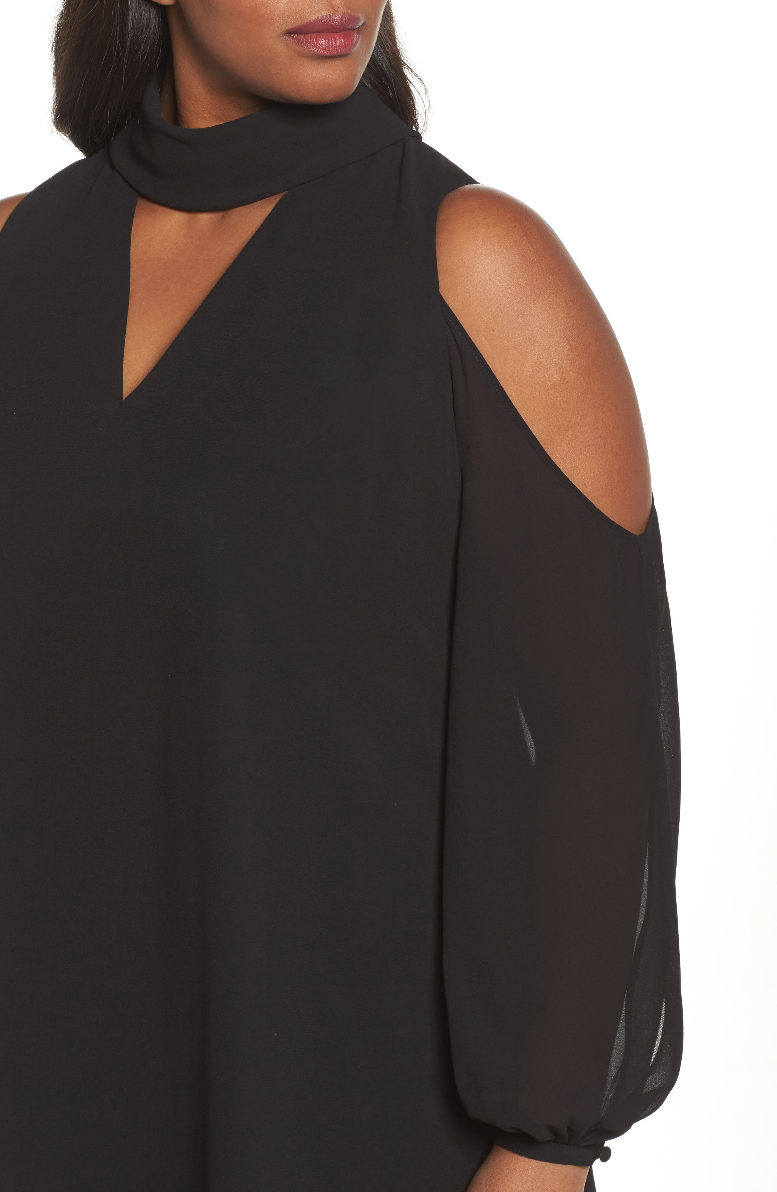 Choker Chiffon Dress,                             Alternate thumbnail 4, color,                             Black