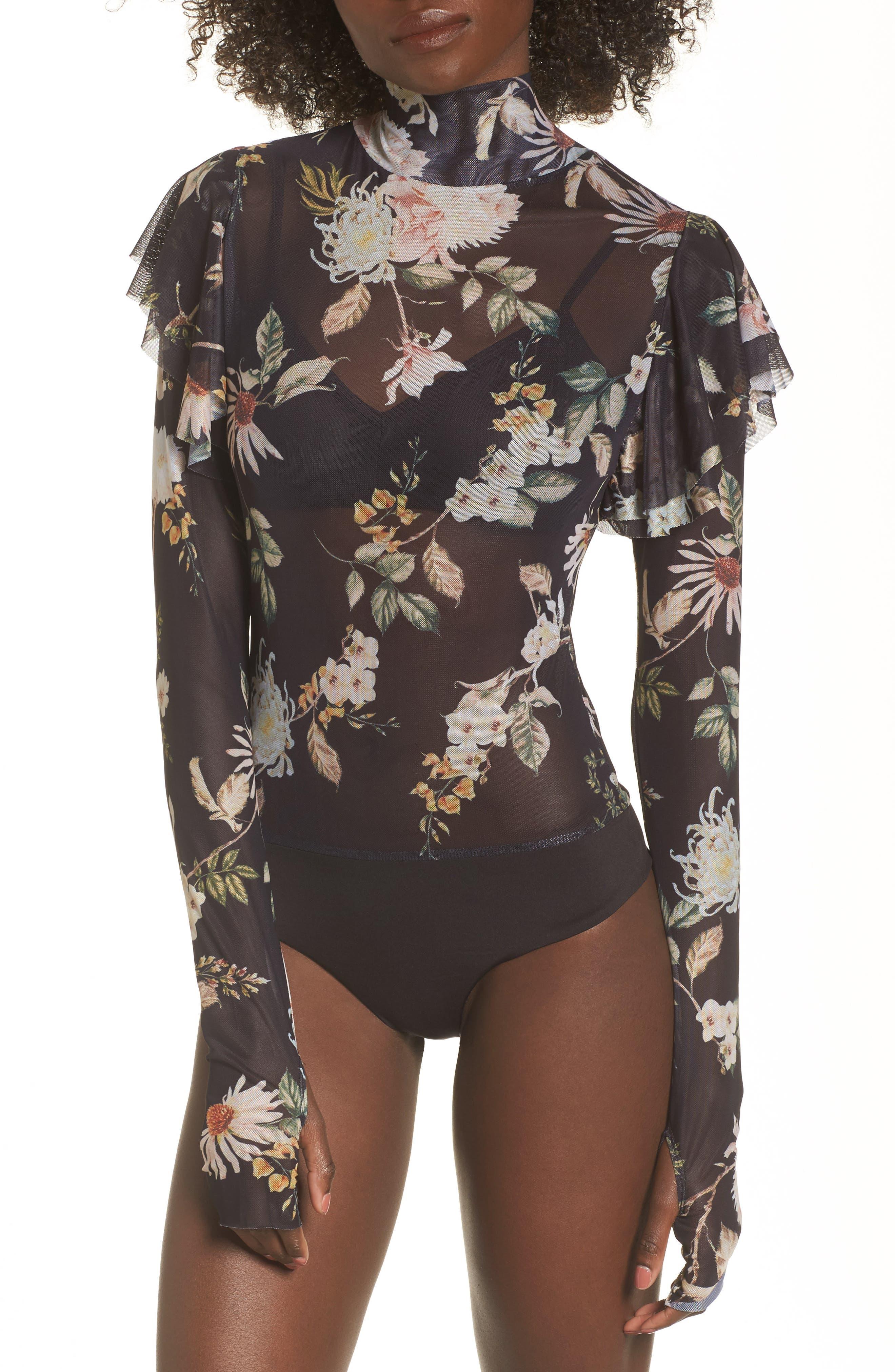 Esme Ruffle Mesh Bodysuit,                             Alternate thumbnail 4, color,                             Noir Floral