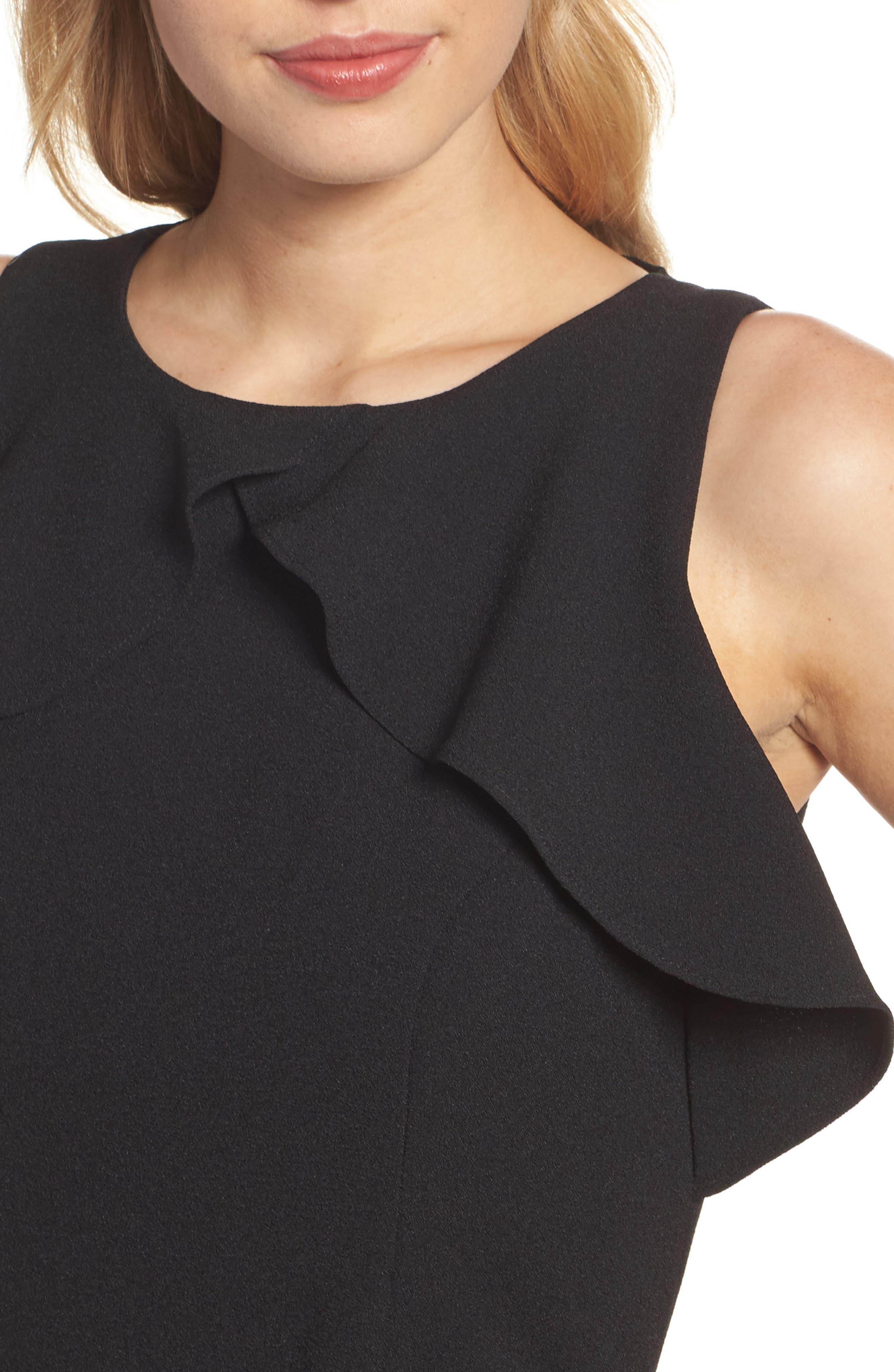 Embellished Ruffle Jumpsuit,                             Alternate thumbnail 4, color,                             Black
