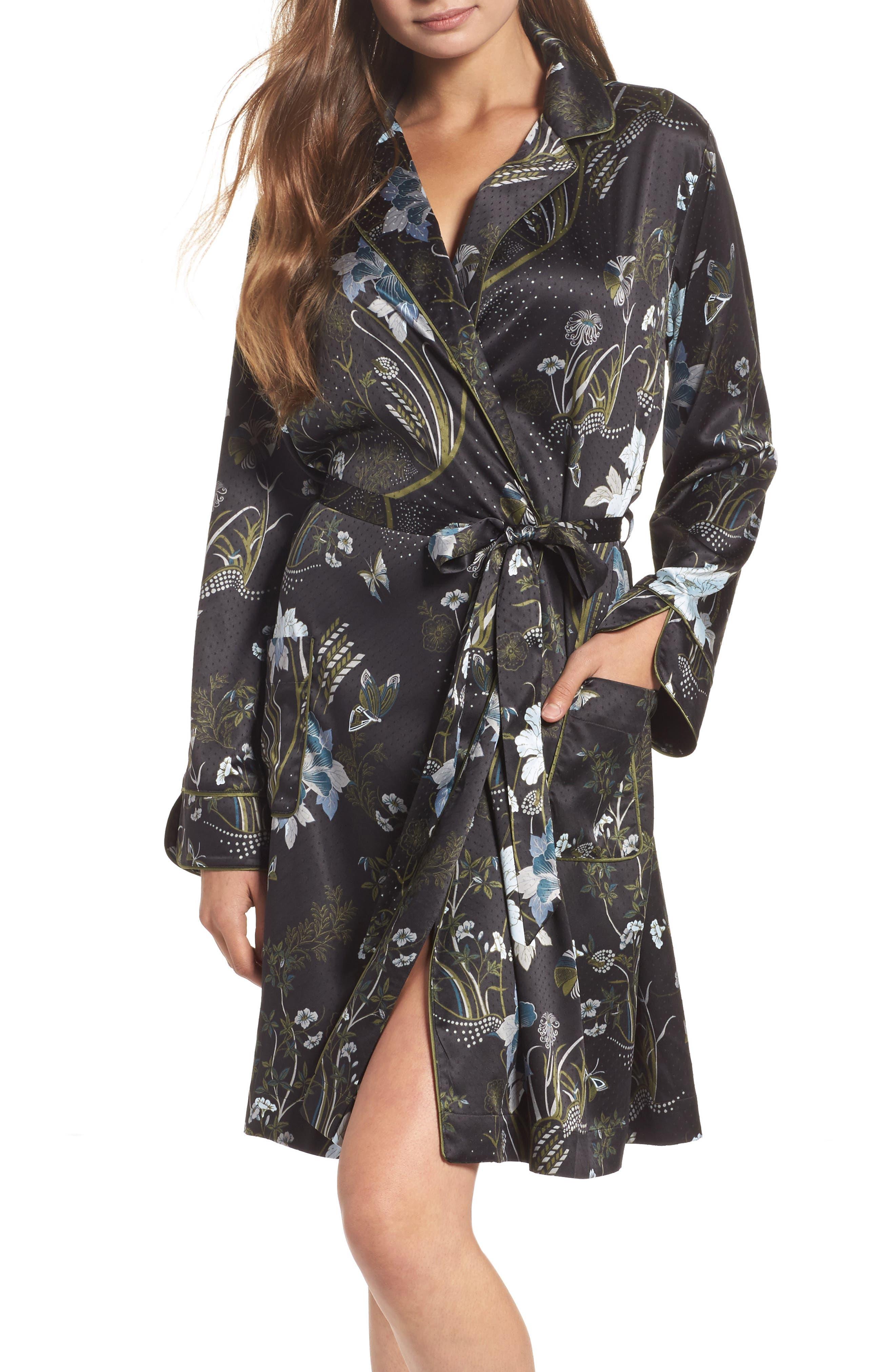 Late Nights Satin Midi Robe,                         Main,                         color, Black Decorative Scenery