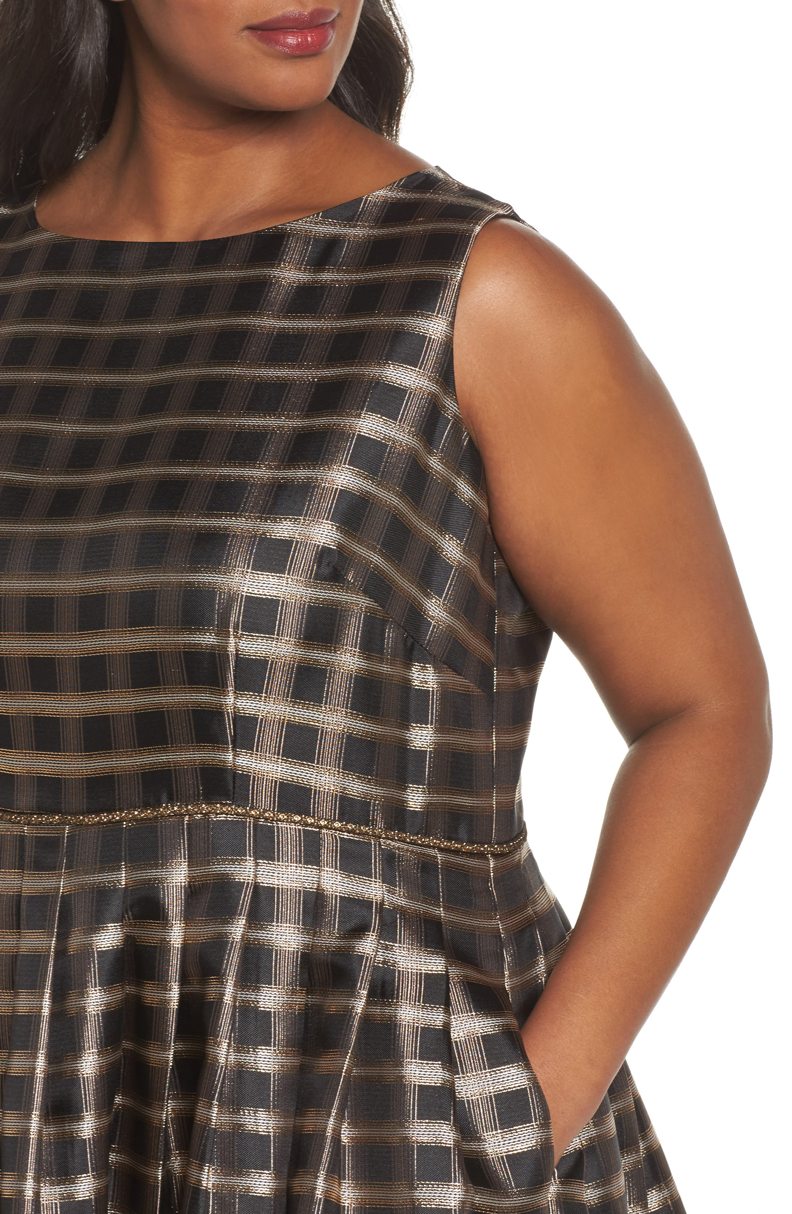 Metallic Jacquard Fit & Flare Dress,                             Alternate thumbnail 4, color,                             Black/ Gold/ Copper