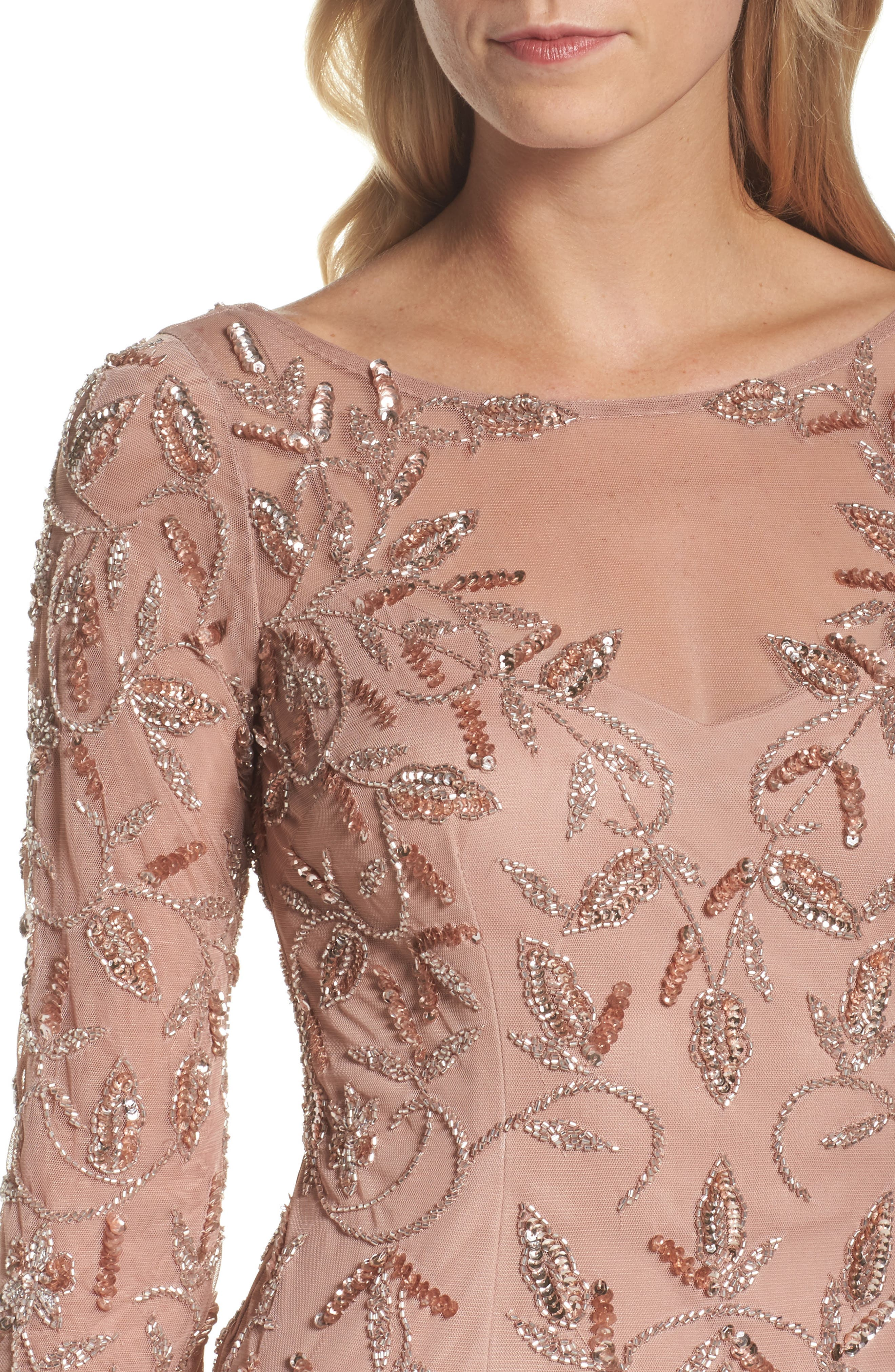Beaded A-Line Gown,                             Alternate thumbnail 4, color,                             Rose Gold