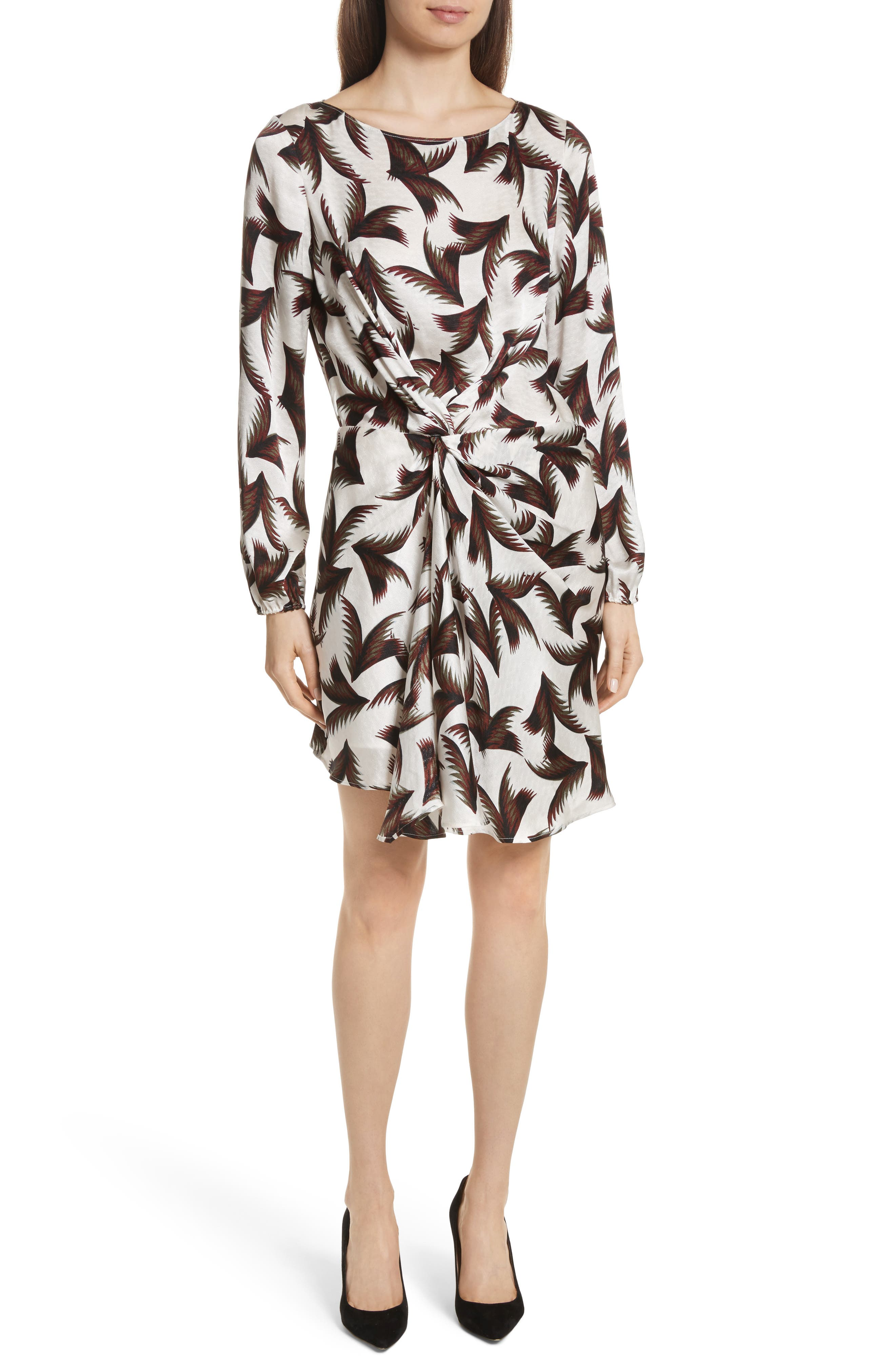Freja Knotted Silk Dress,                         Main,                         color, White