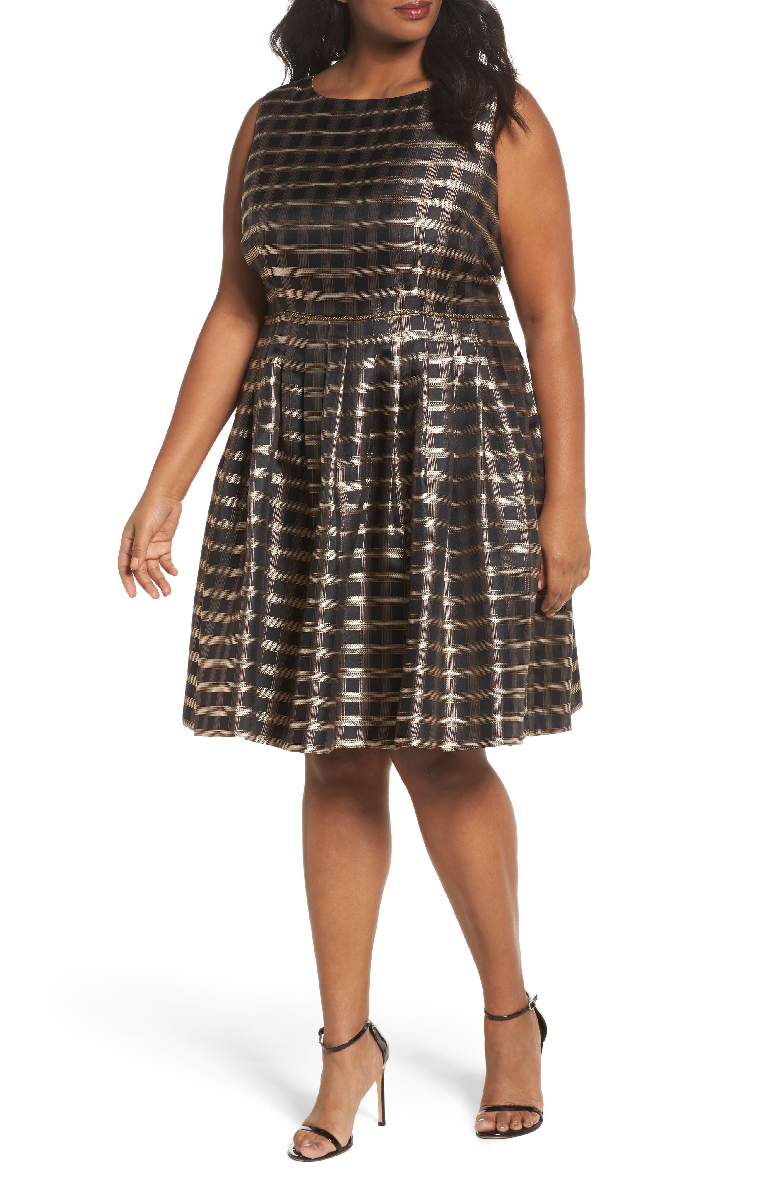 Metallic Jacquard Fit & Flare Dress,                             Main thumbnail 1, color,                             Black/ Gold/ Copper