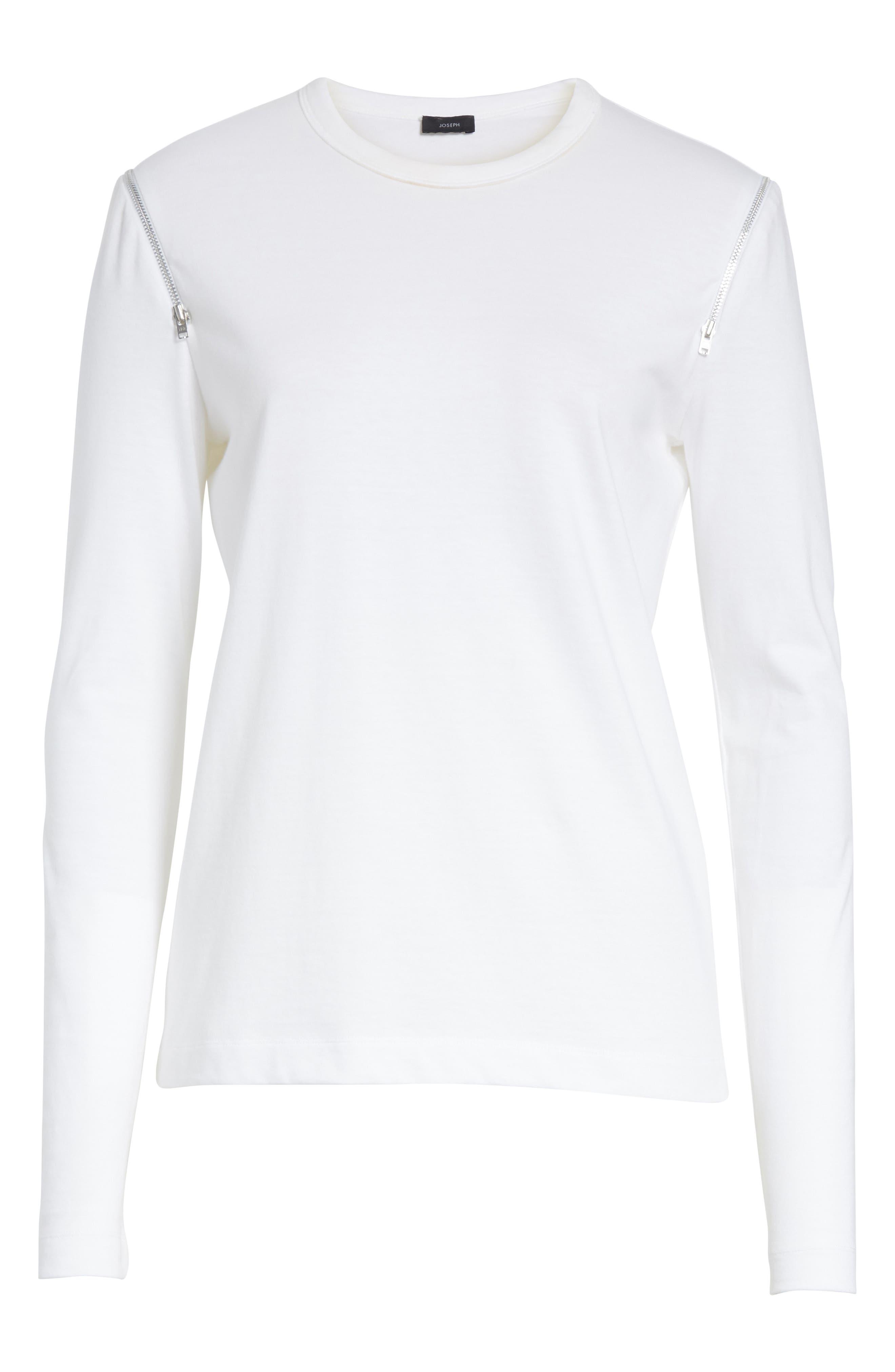 Zip Shoulder Long Sleeve Tee,                             Alternate thumbnail 6, color,                             White