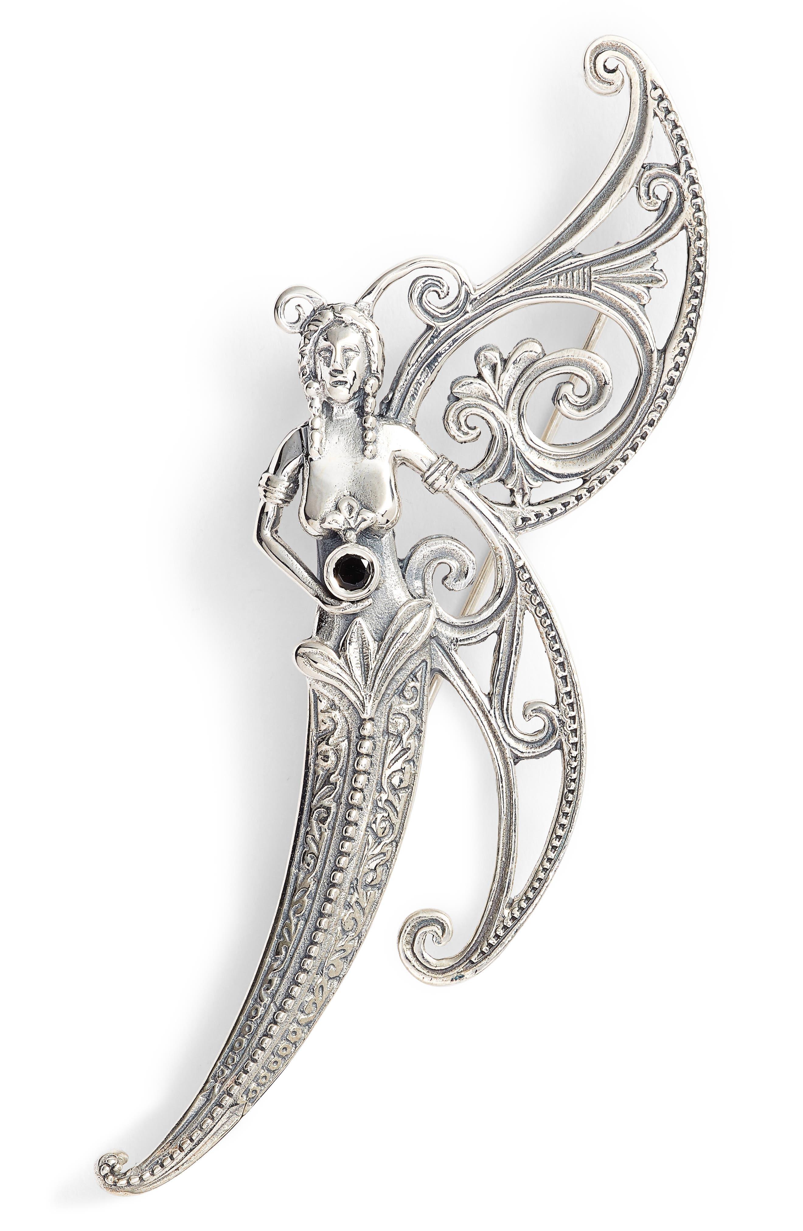 Santorini Butterfly Pin,                         Main,                         color, Silver/ Hematite