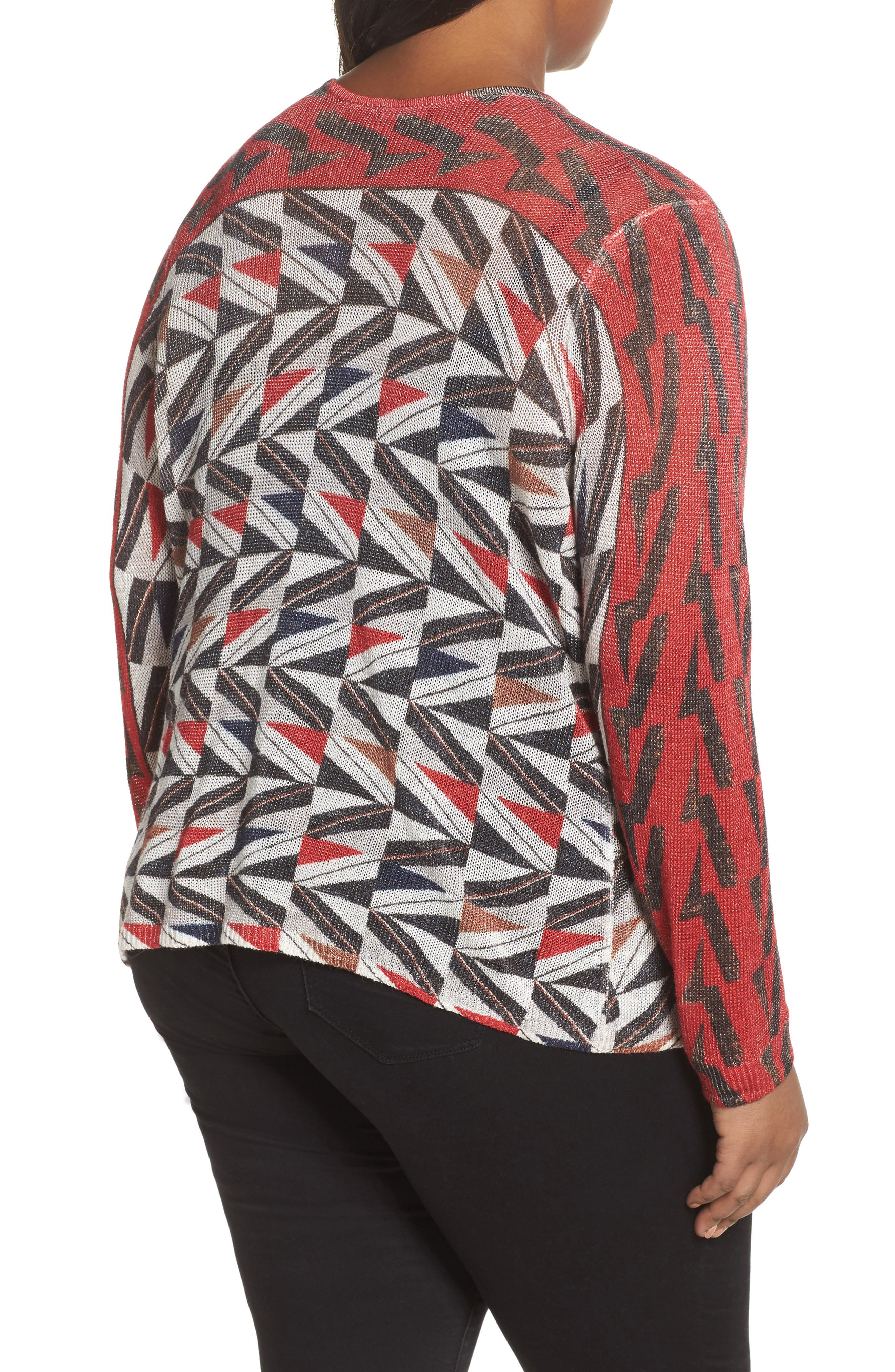 Zigzag Open Front Cardigan,                             Alternate thumbnail 2, color,                             Multi