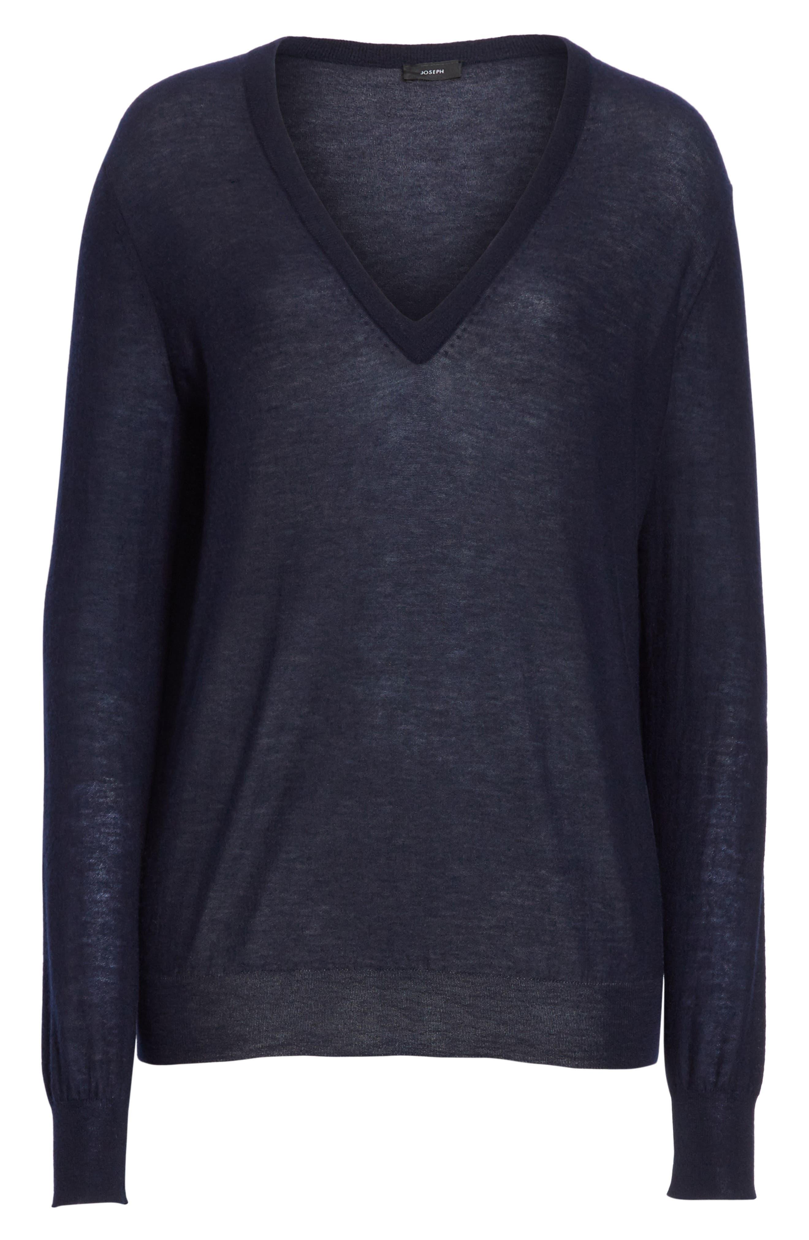 V-Neck Cashair Cashmere Sweater,                             Alternate thumbnail 6, color,                             Navy