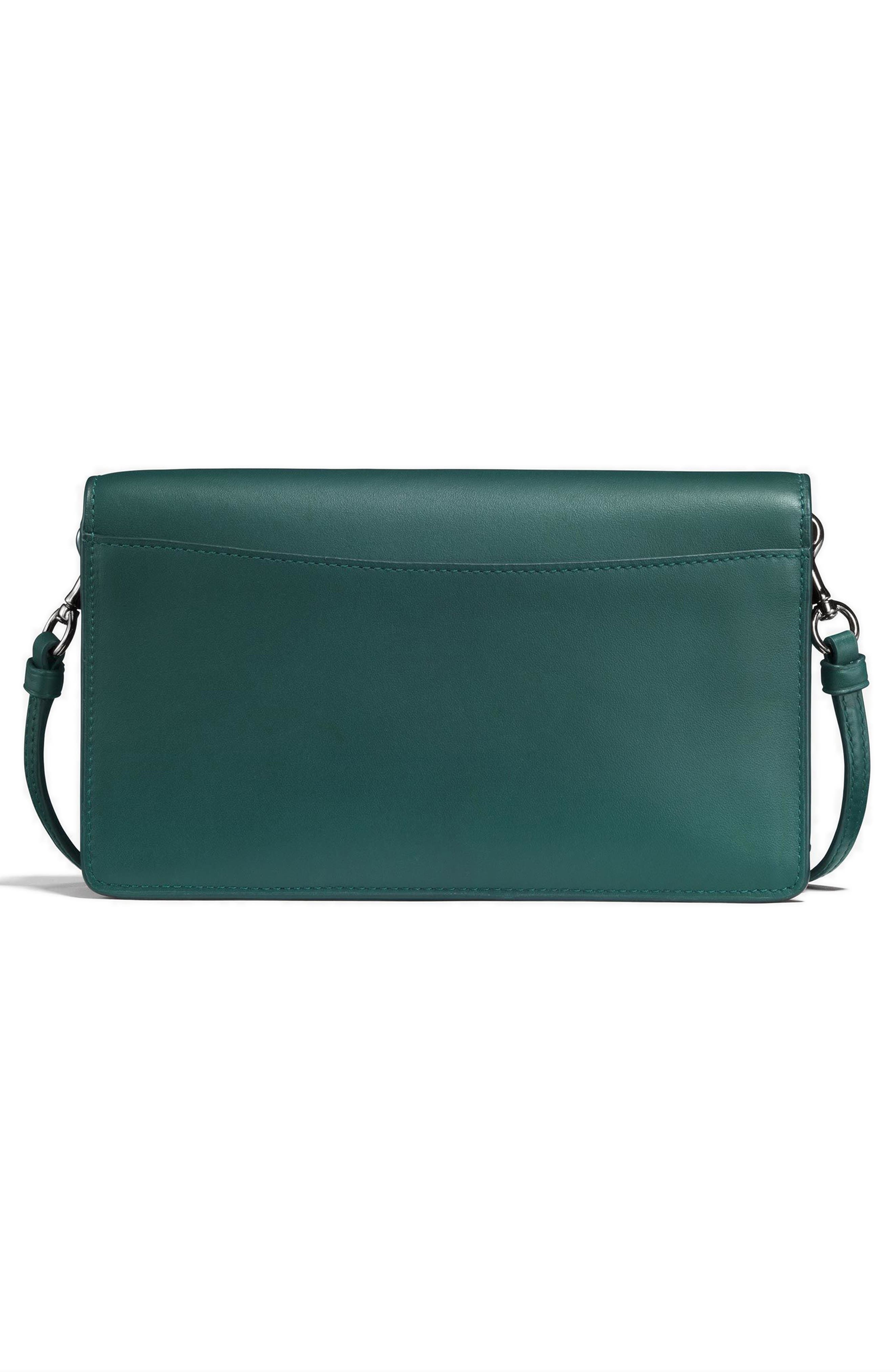 Calfskin Leather Foldover Convertible Clutch,                             Alternate thumbnail 2, color,                             Dark Turquoise