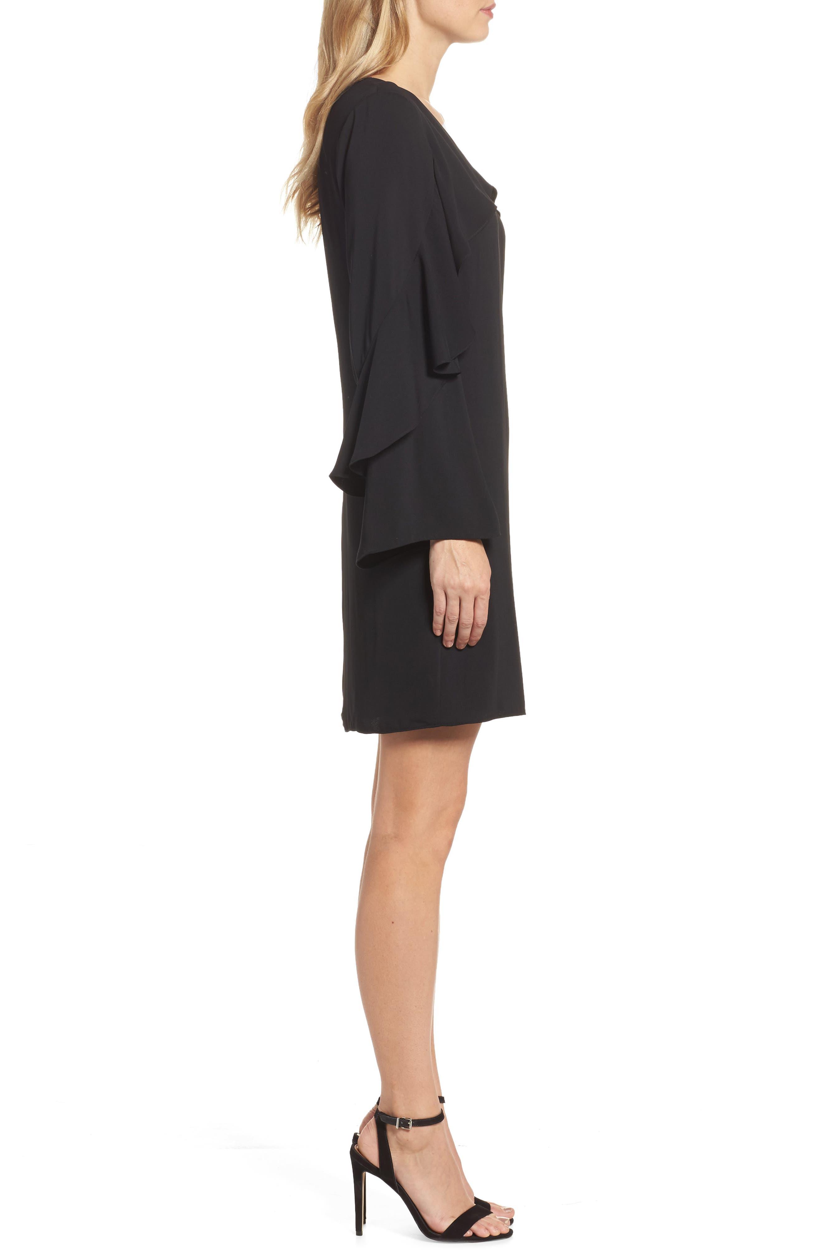 Sherryl Ruffle Sleeve Shift Dress,                             Alternate thumbnail 3, color,                             Black
